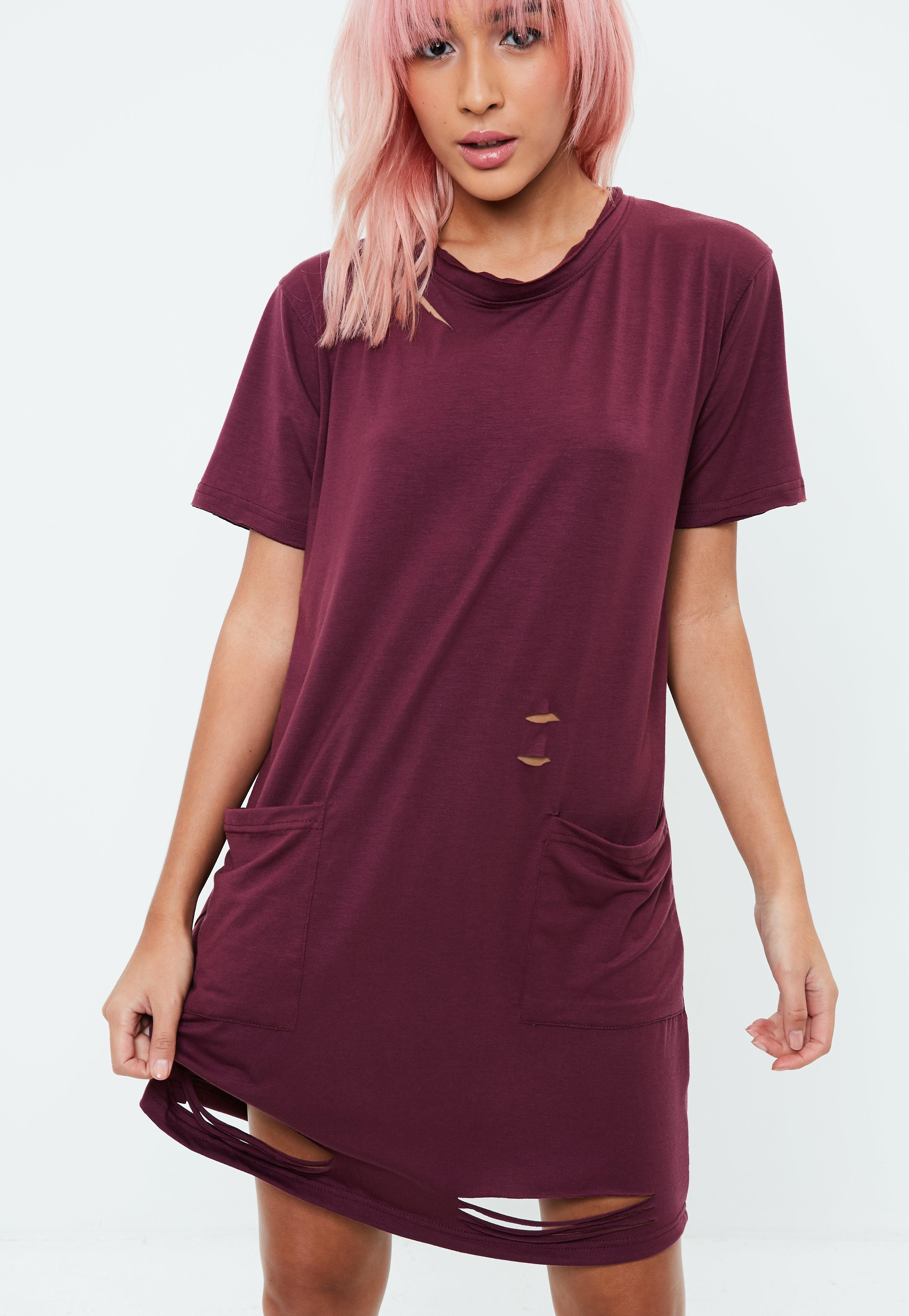 f54cb1be1140 Lyst - Missguided Burgundy Distressed Oversized T-shirt Dress in Purple