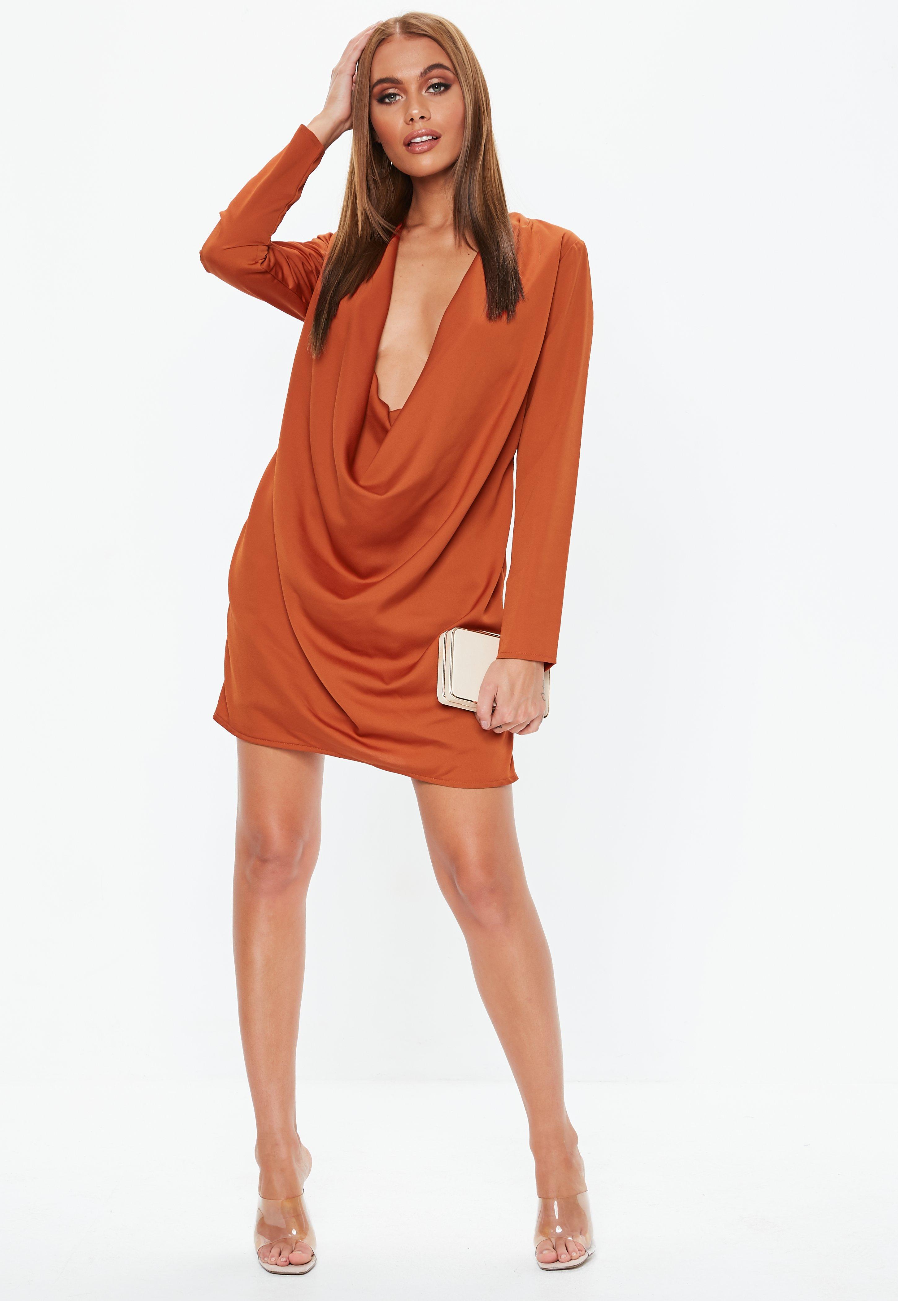 Missguided - Orange Rust Extreme Cowl Satin Mini Dress - Lyst. View  fullscreen d9fbf79fa