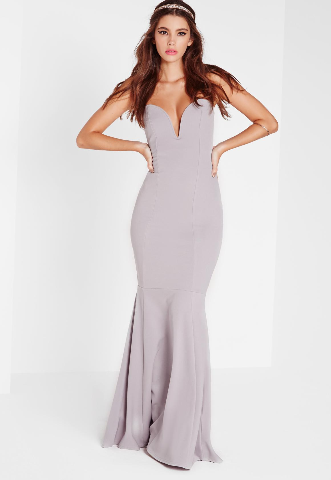 493aa659d3 Missguided Scuba Bandeau Fishtail Maxi Dress Grey in Gray - Lyst