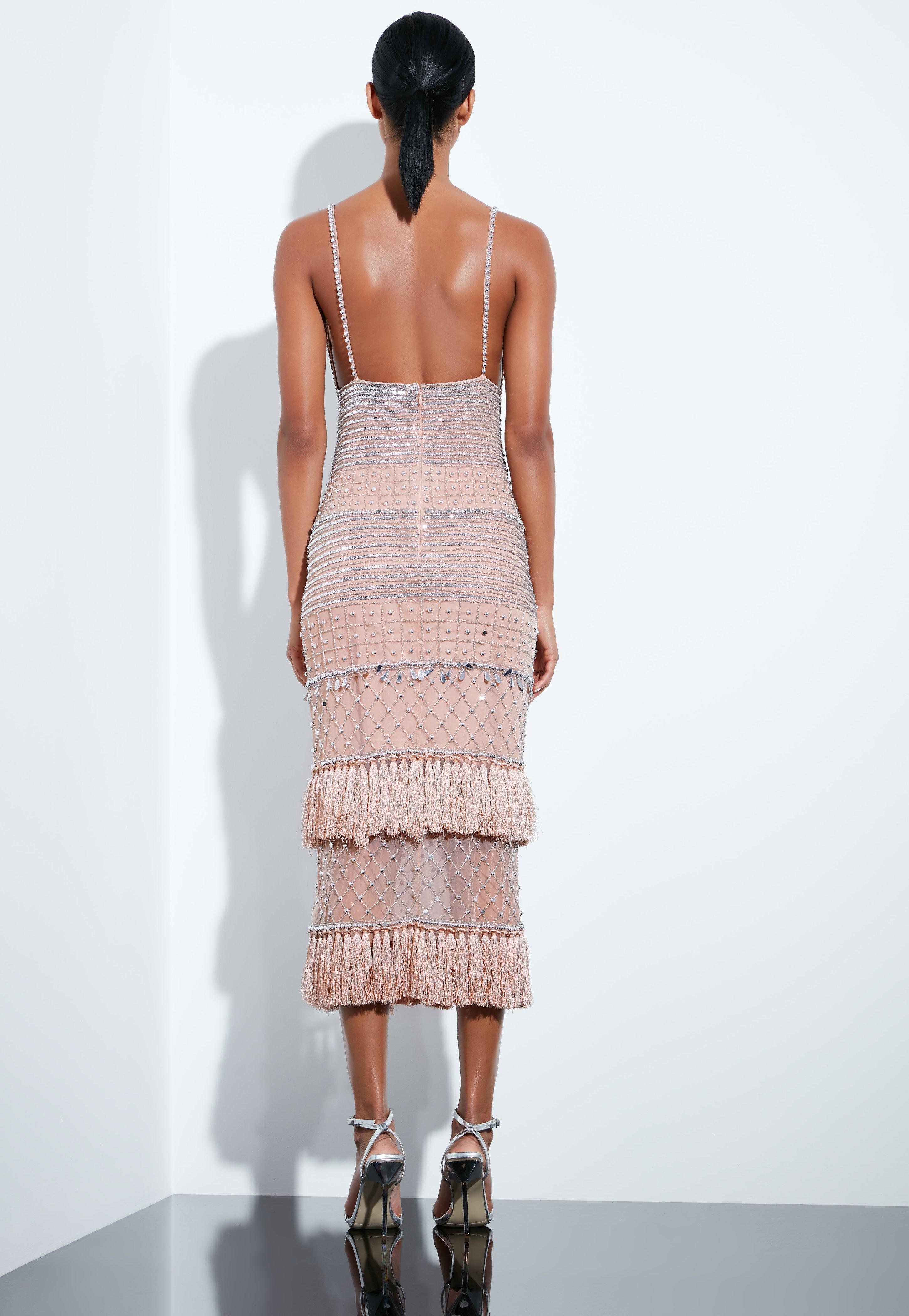 f273dd552a Missguided Peace + Love Nude Beaded Tassel Midi Dress - Lyst