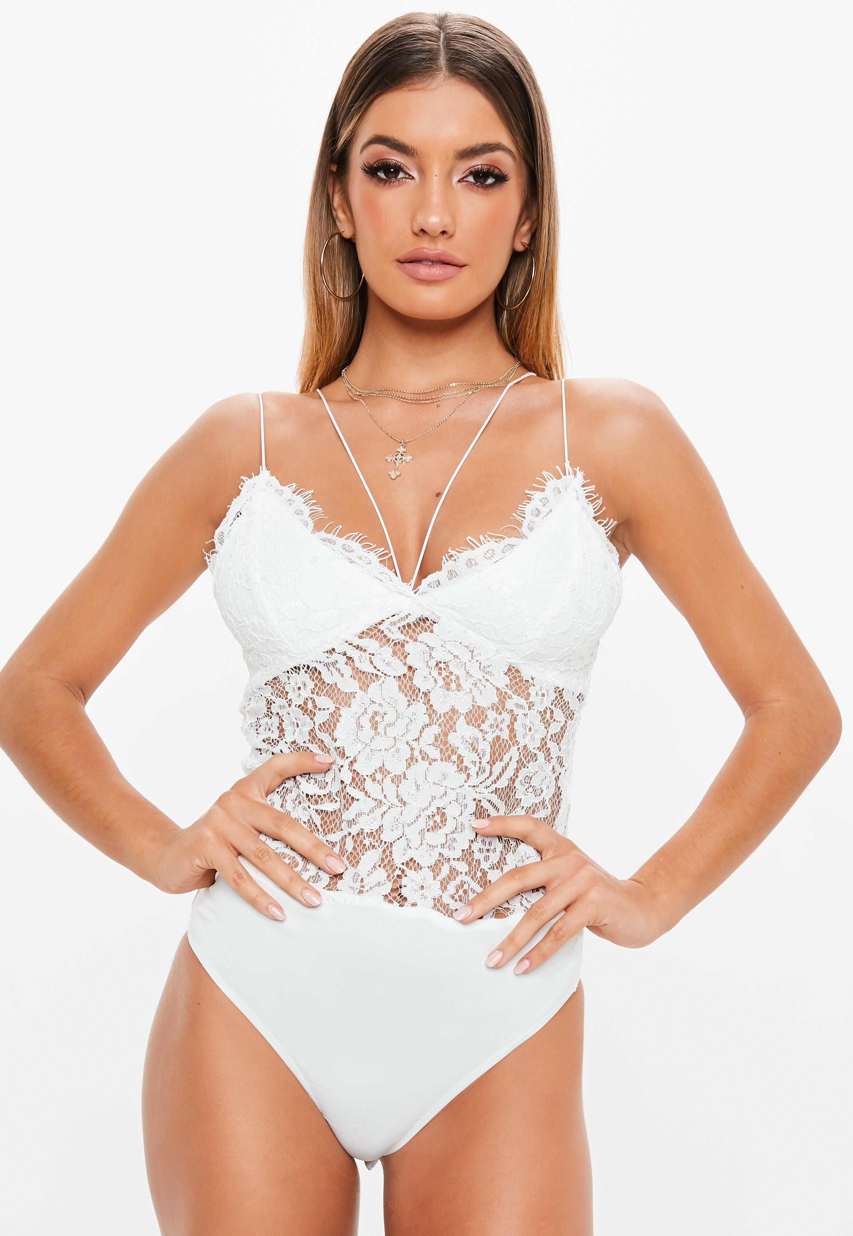 06fabe9e13 Missguided - Premium White Corded Lace Harness Bodysuit - Lyst. View  fullscreen