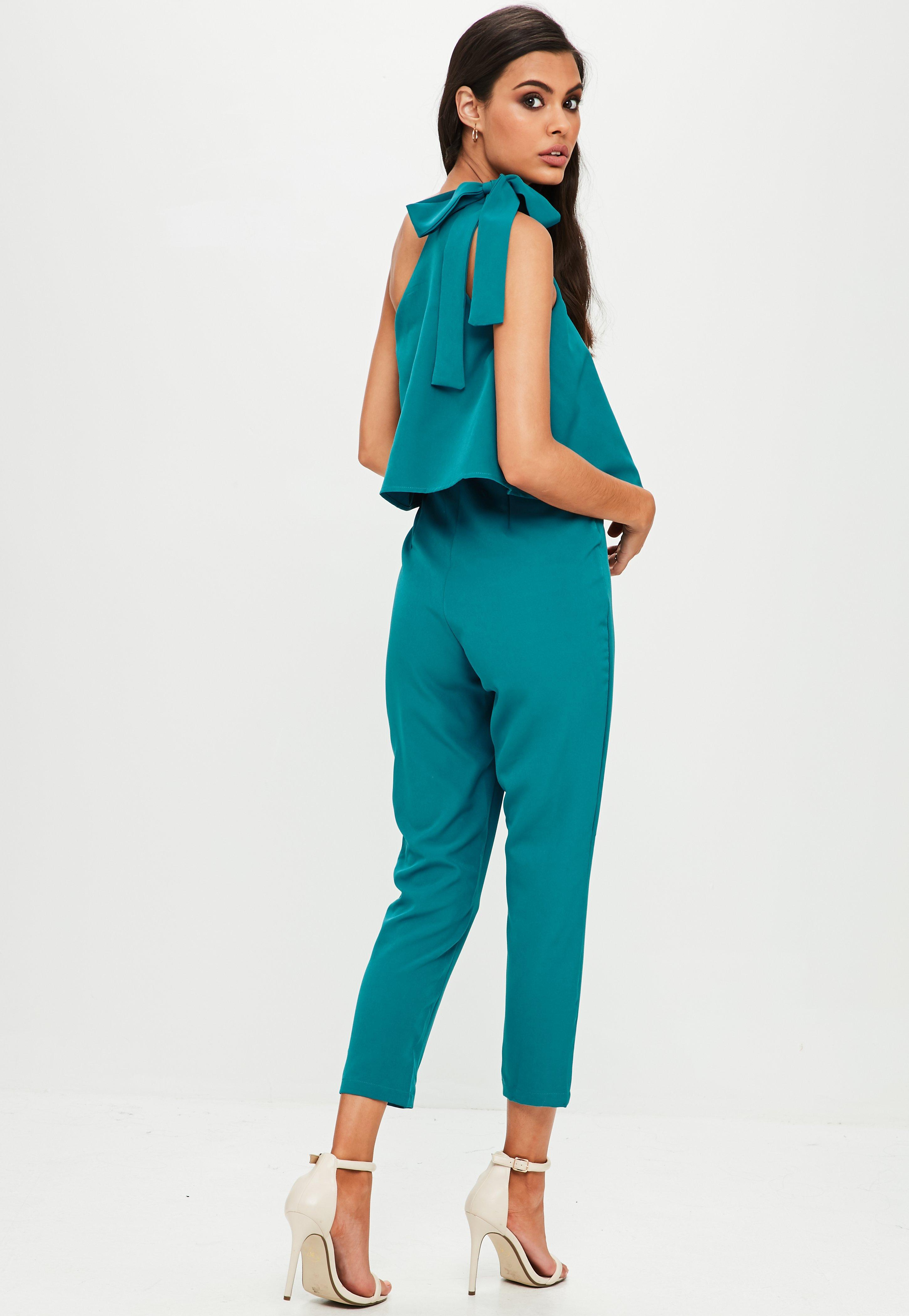 9f07dae427e Lyst - Missguided Blue One Shoulder Bow Jumpsuit in Blue