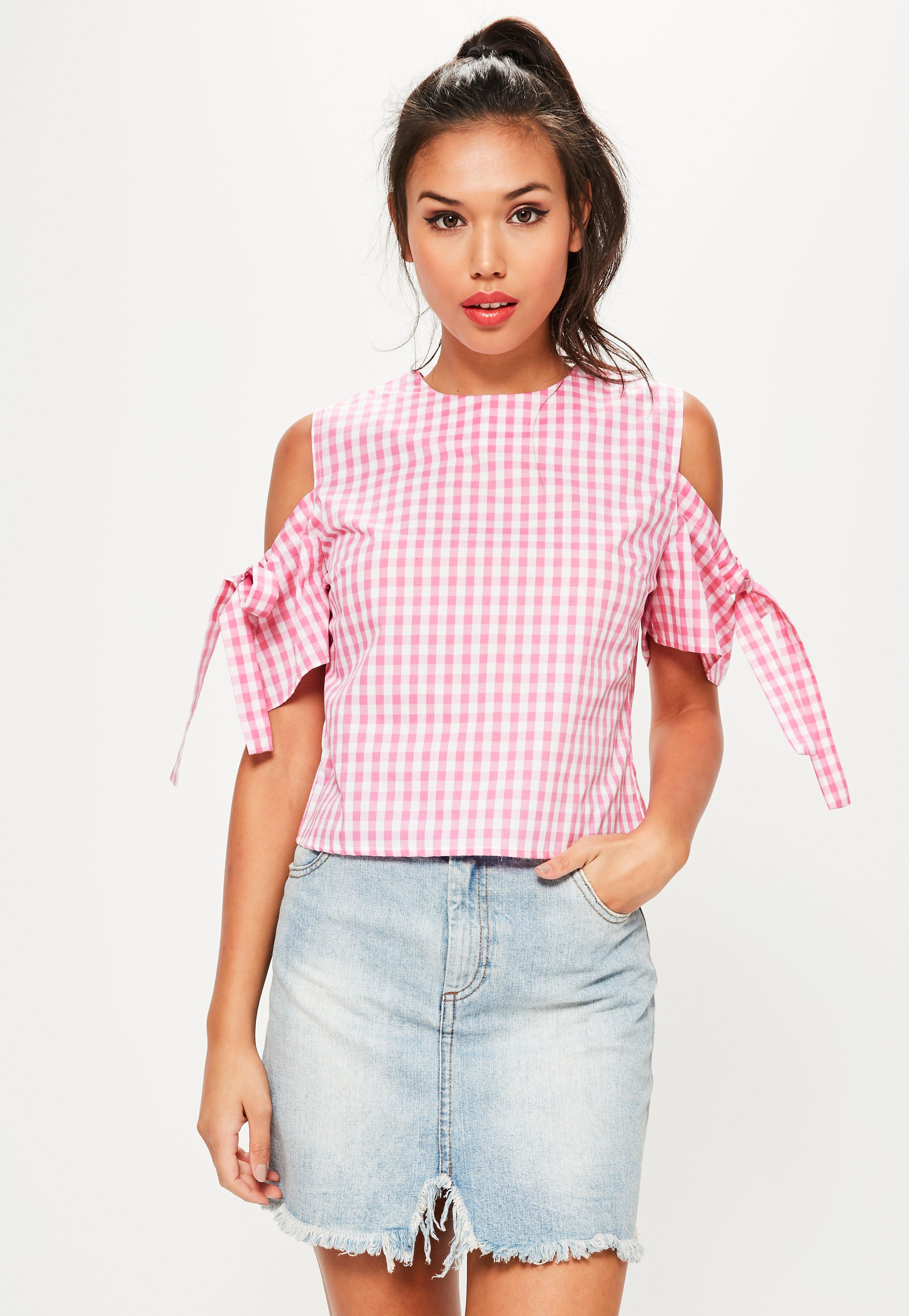 d94bd0bb38898 Missguided Pink Gingham Cold Shoulder Tie Sleeve Blouse in Pink - Lyst