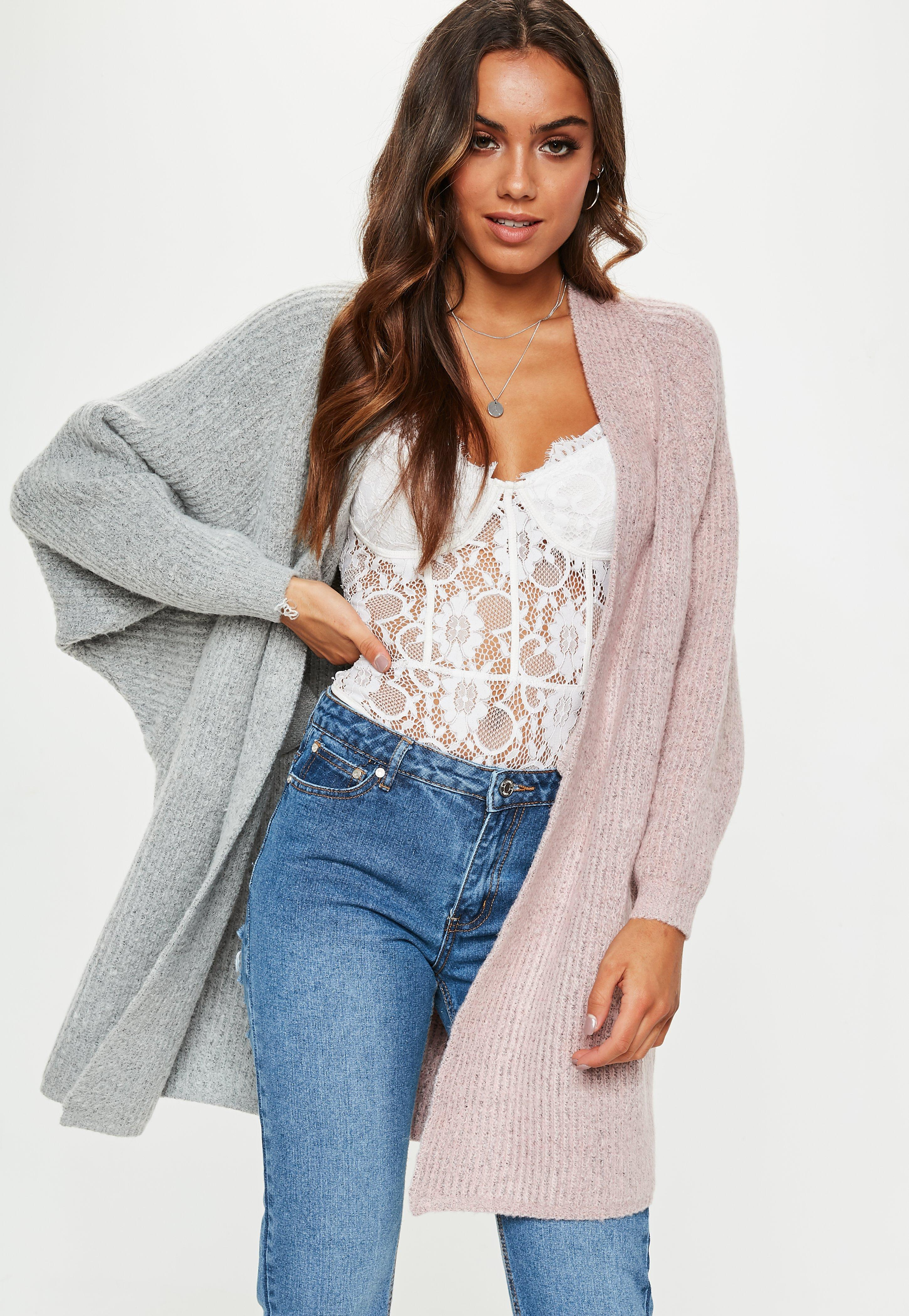 a97576935c57f5 Lyst - Missguided Pink grey Oversized Batwing Longline Knitted ...
