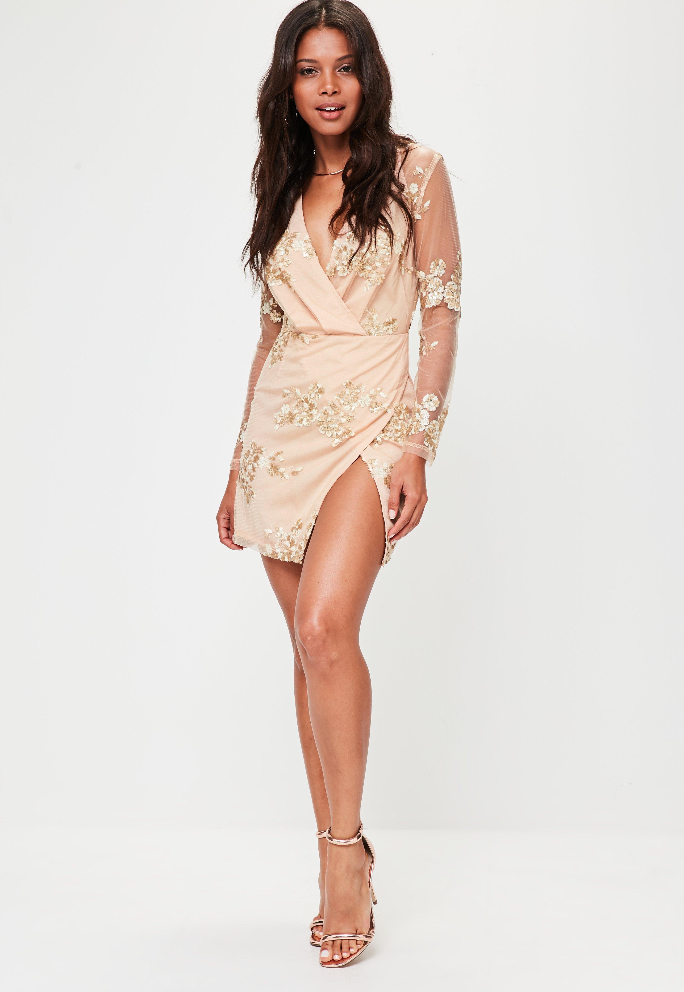 Goddess London Star Sequinned Nude Maxi Dress