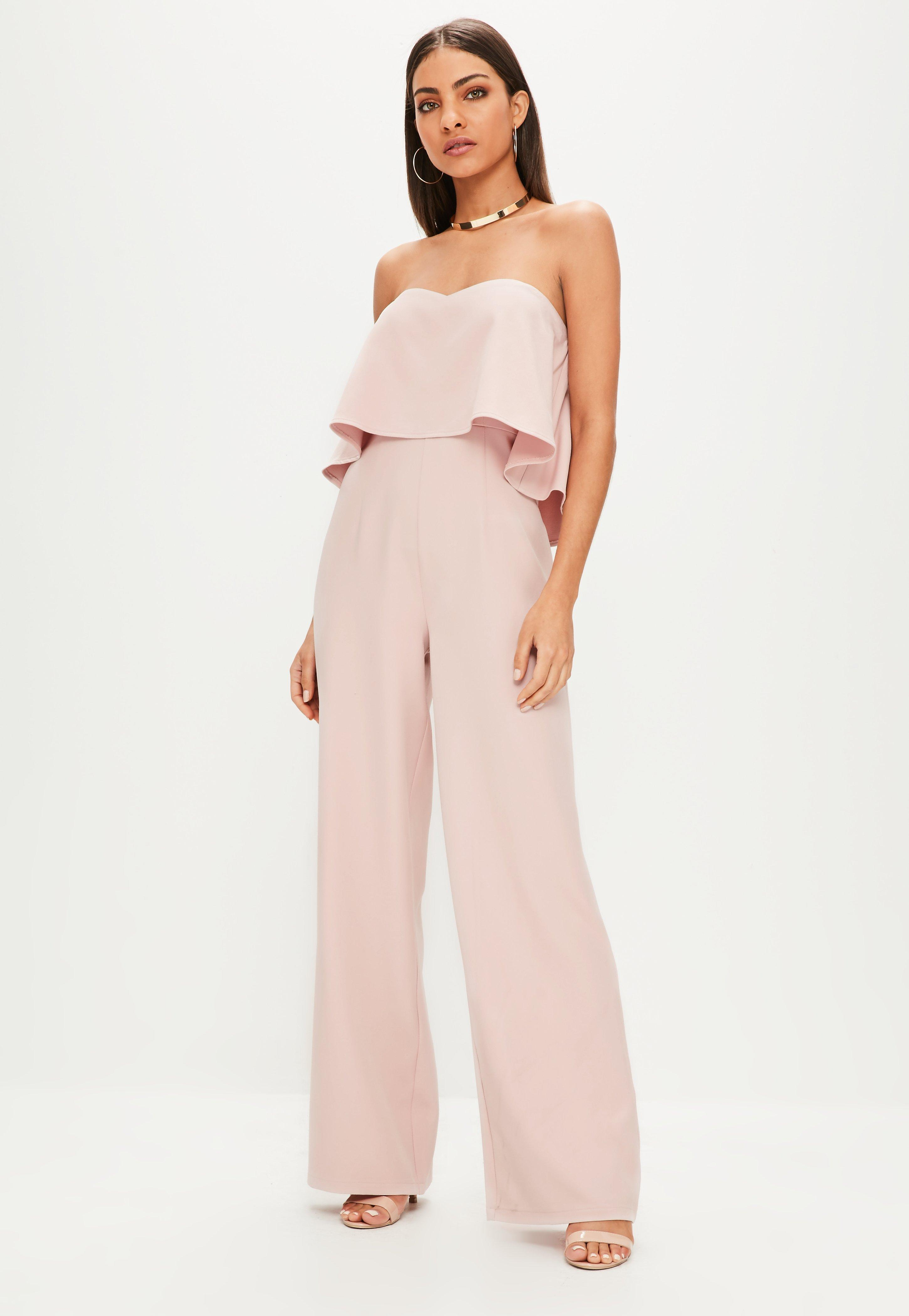 cf3eeb5e47d3 Missguided - Natural Nude Double Layer Bandeau Wide Leg Jumpsuit - Lyst.  View fullscreen