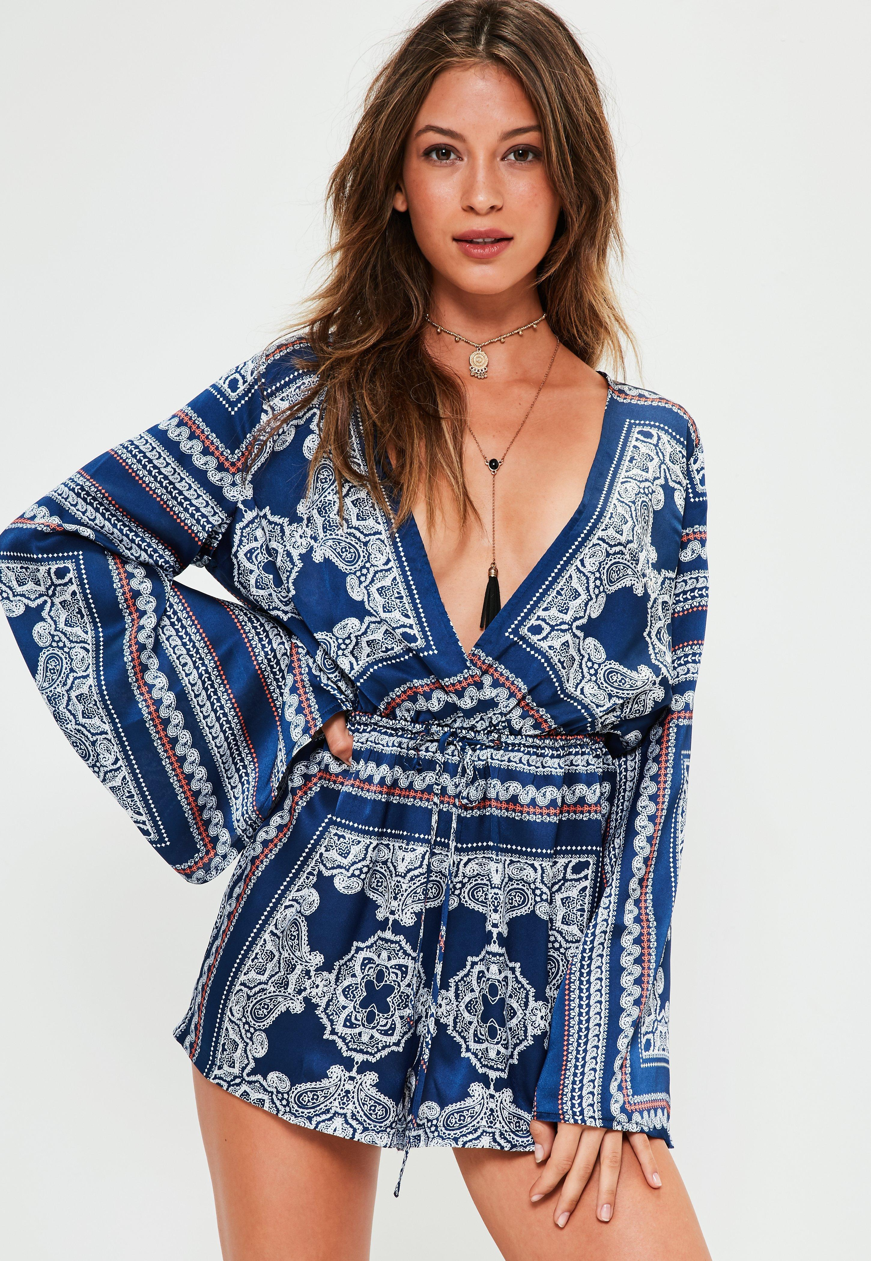 2387be60291 Missguided Navy Silky Scarf Print Wide Sleeve Playsuit in Blue - Lyst