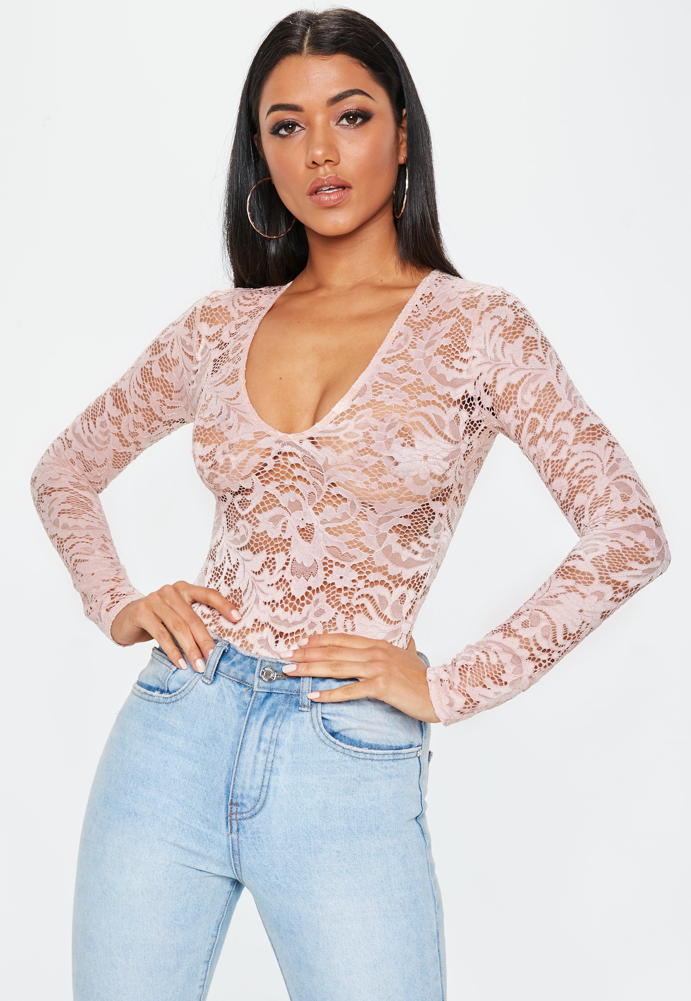 Lyst - Missguided Tall Pink Long Sleeve Lace Bodysuit in Pink c9f50052e