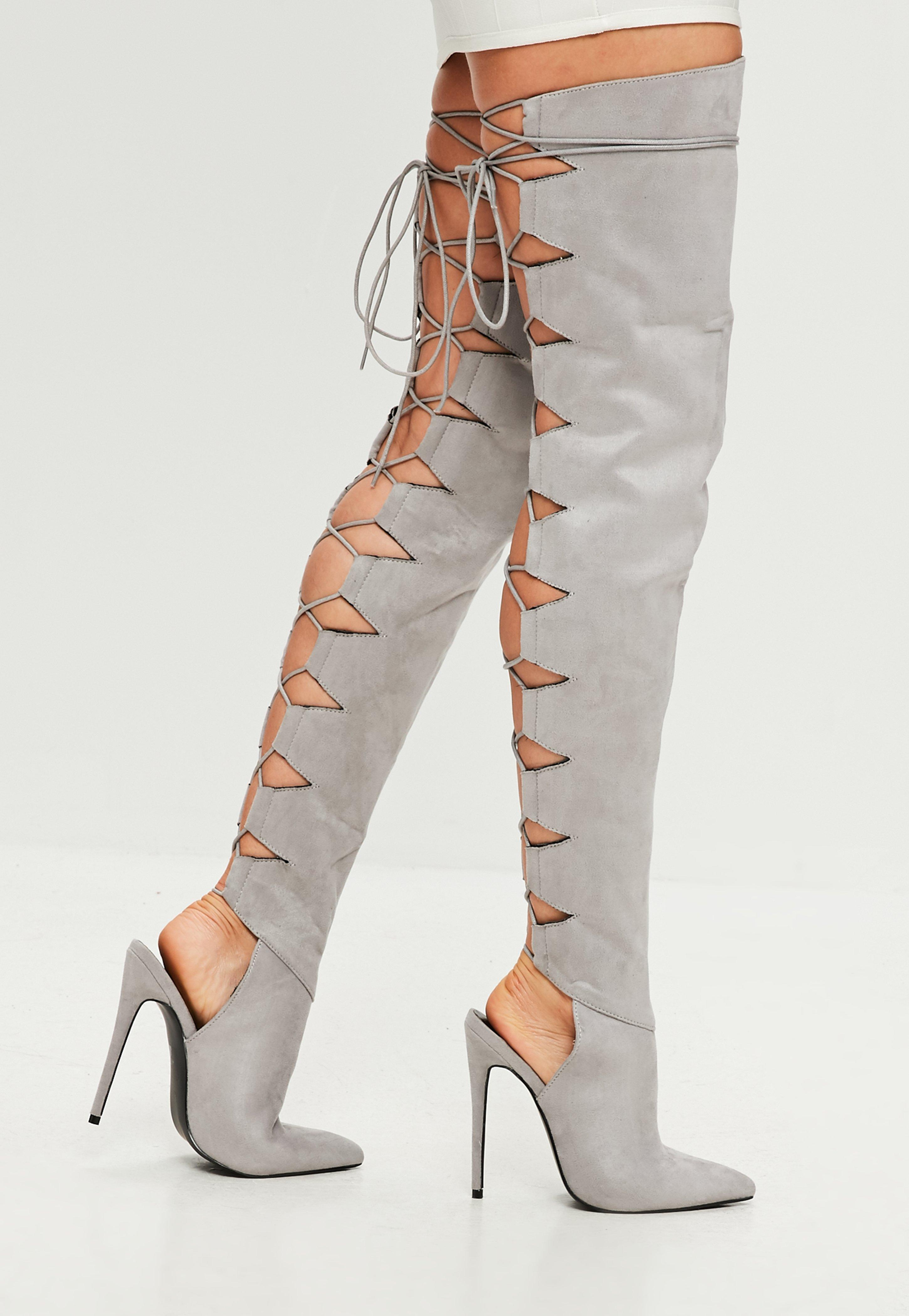 a2f5640c66c Lyst - Missguided Peace + Love Grey Lace Up Back Heeled Boot in Gray