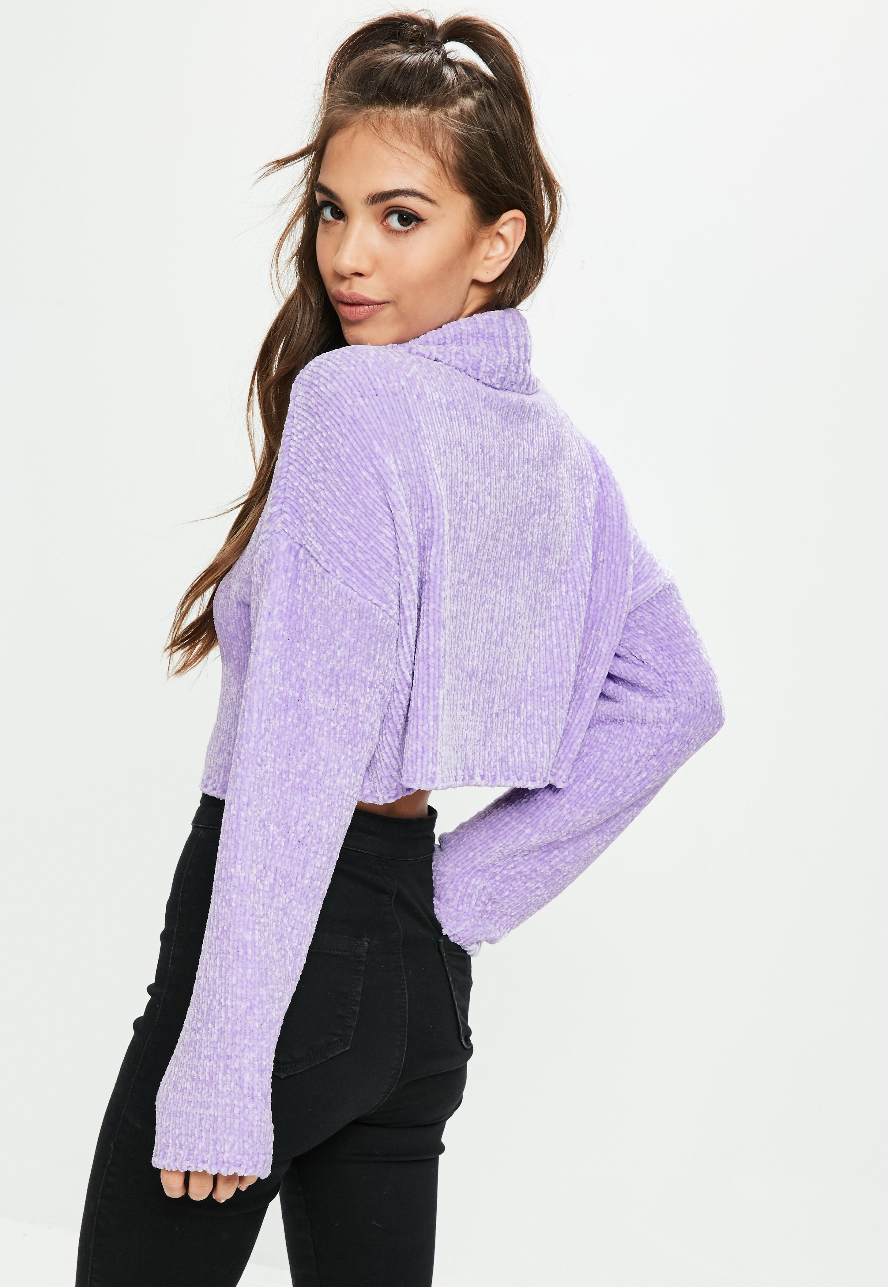 Missguided Purple Roll Neck Crop Sweater in Purple | Lyst