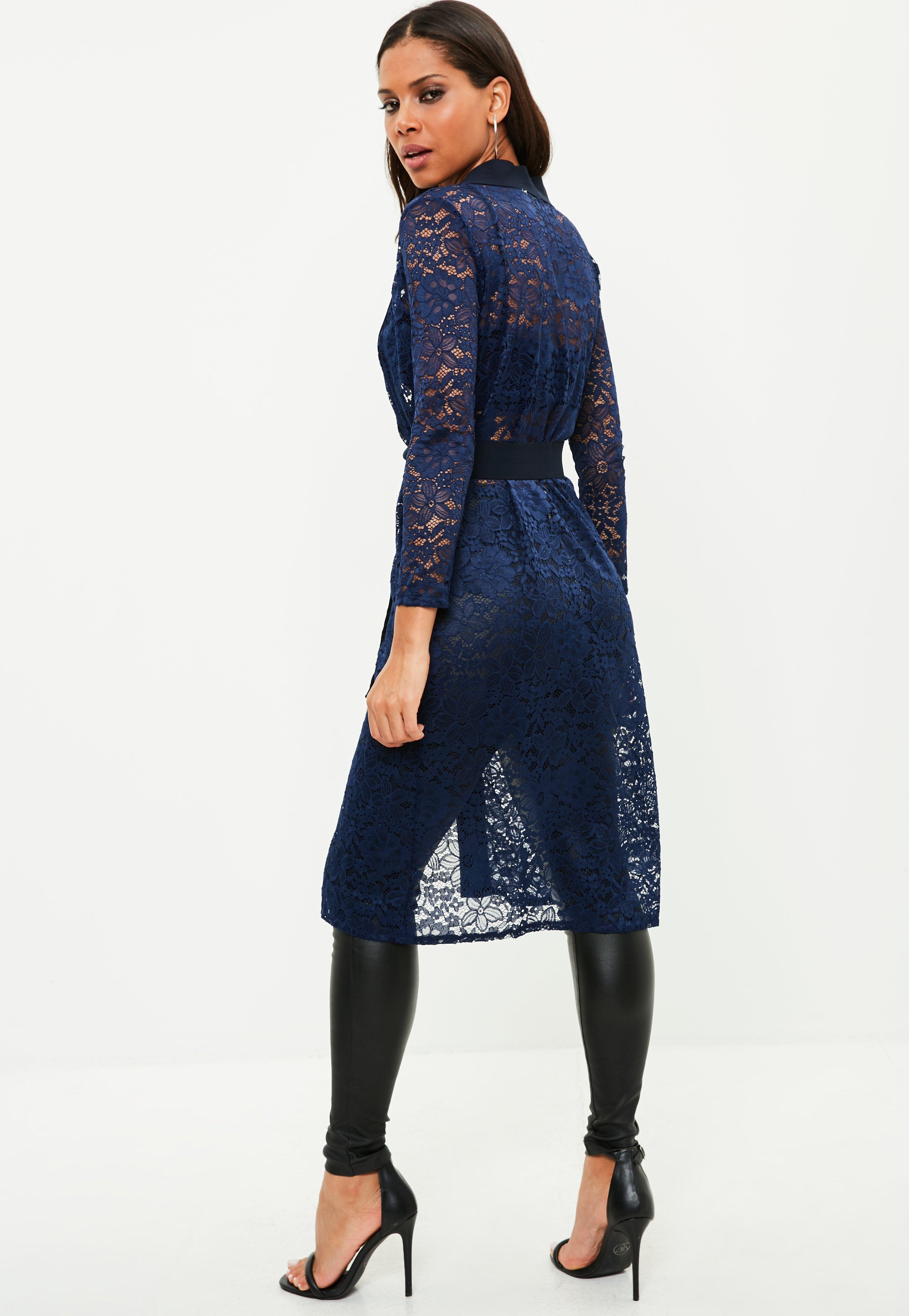 Missguided Navy Lace Longline Cardigan in Blue | Lyst