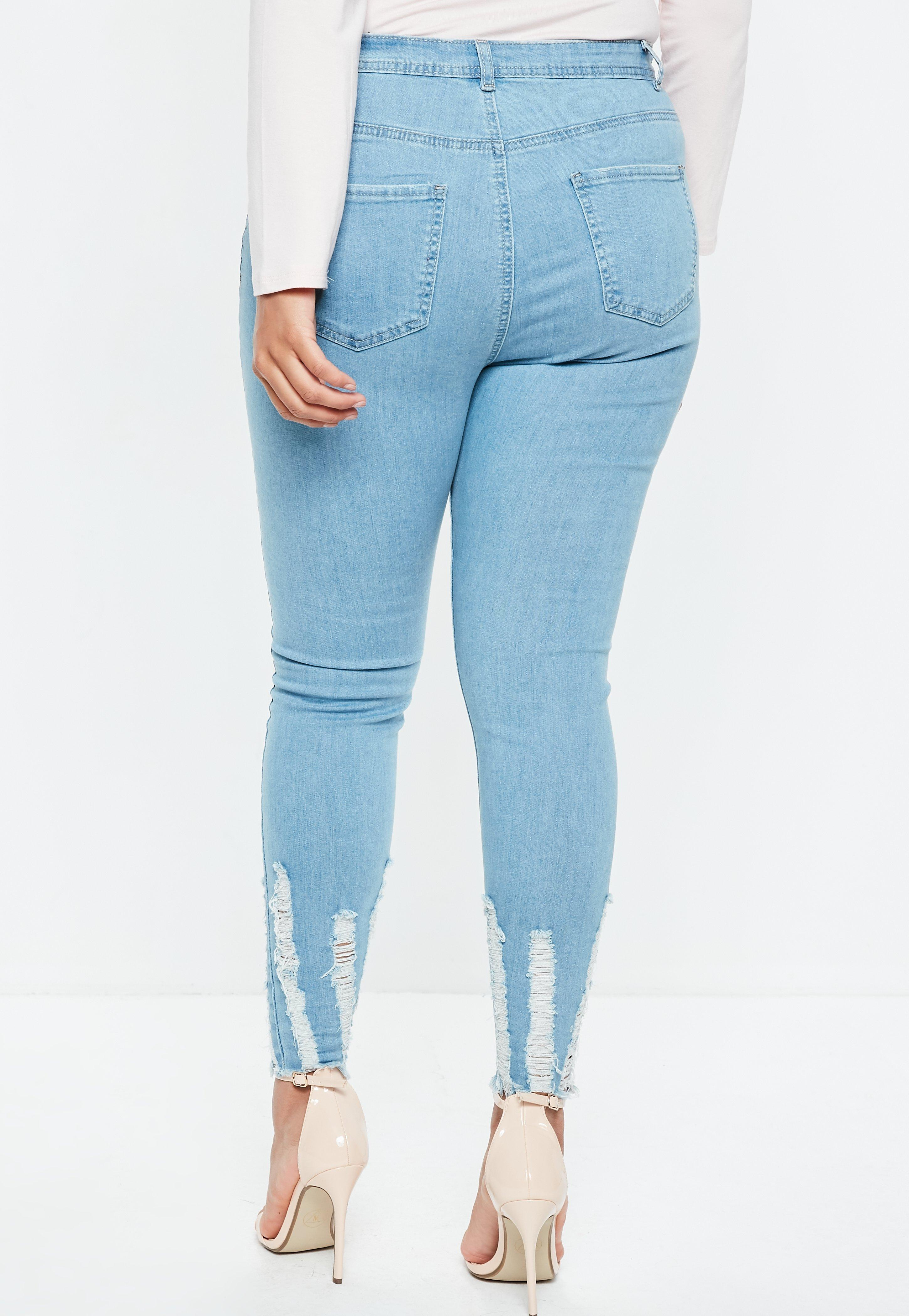 45e3195fae85b Missguided - Plus Size Blue Sinner Highwaisted Chew Hem Skinny Jeans -  Lyst. View fullscreen
