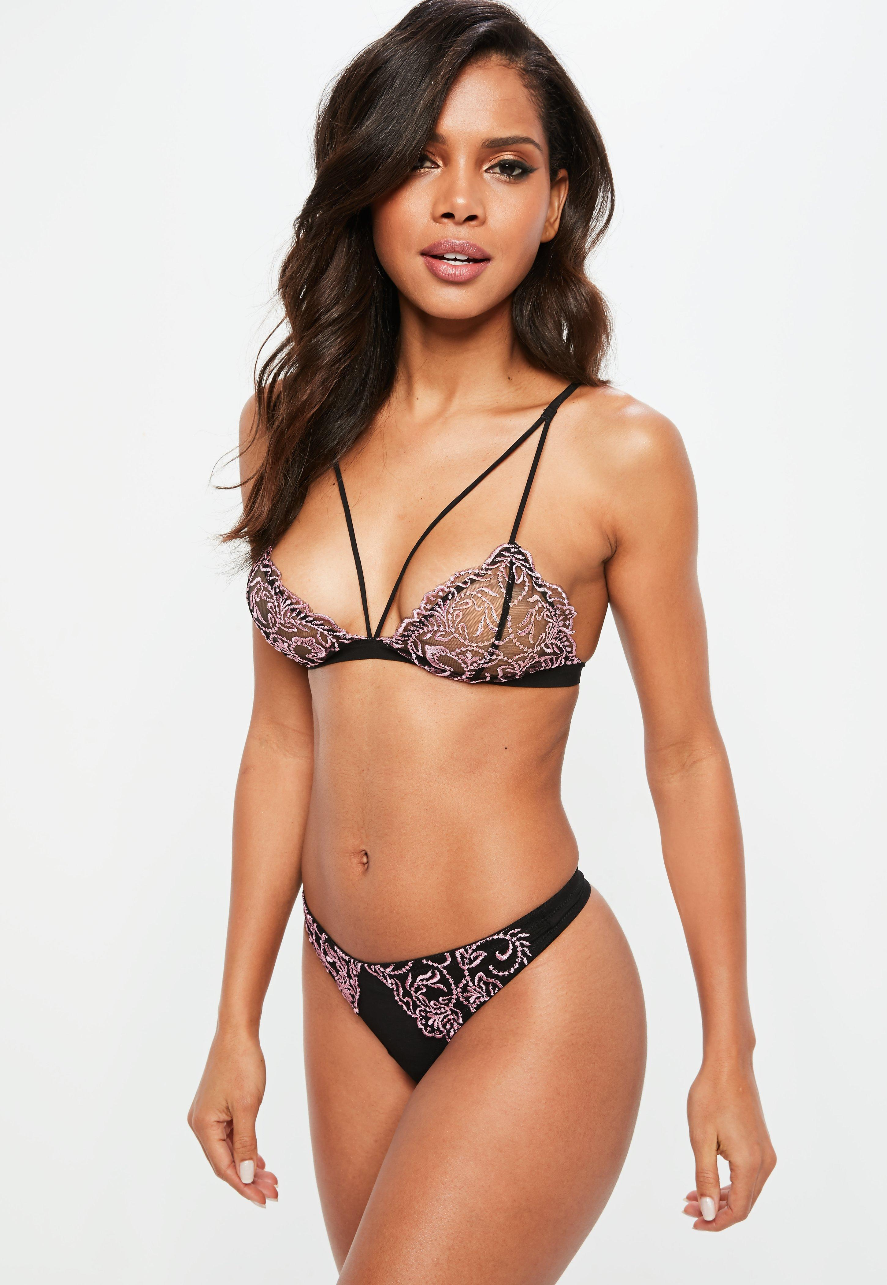 a92cdf8f93 Lyst - Missguided Black Corded Lace Triangle Bra in Black
