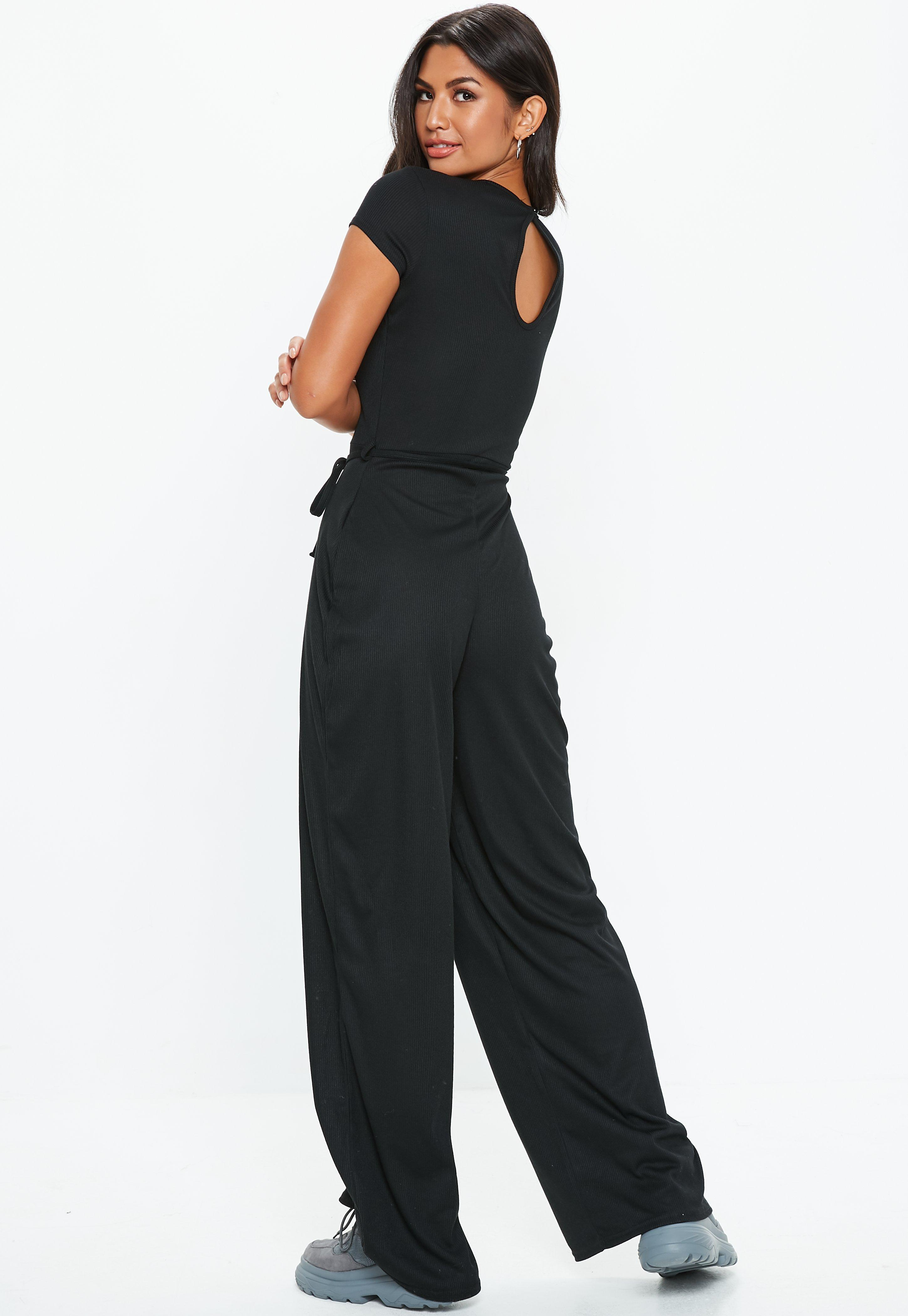 52efe5d5a91 Missguided - Black Ribbed Short Sleeve Wide Leg Jumpsuit - Lyst. View  fullscreen