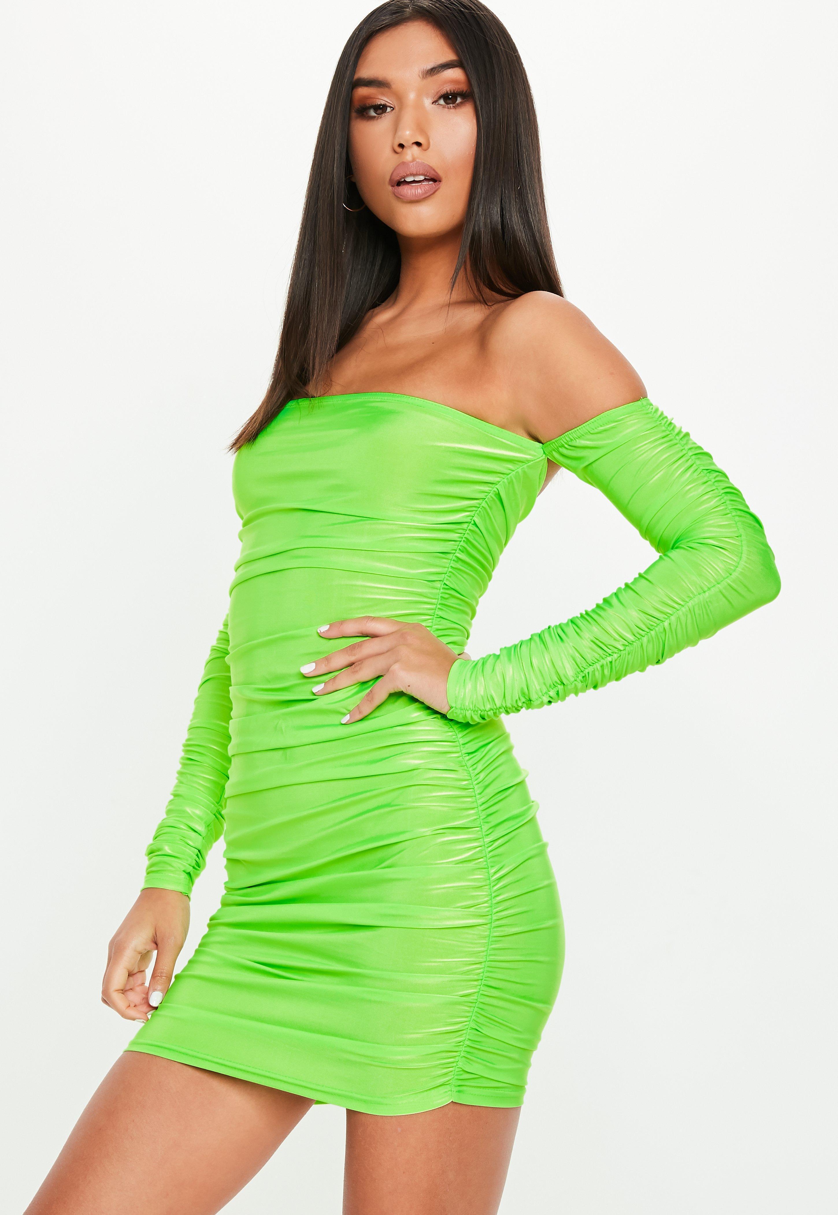 c9889123d238 Missguided Neon Green Bardot Ruched Mini Dress in Green - Lyst