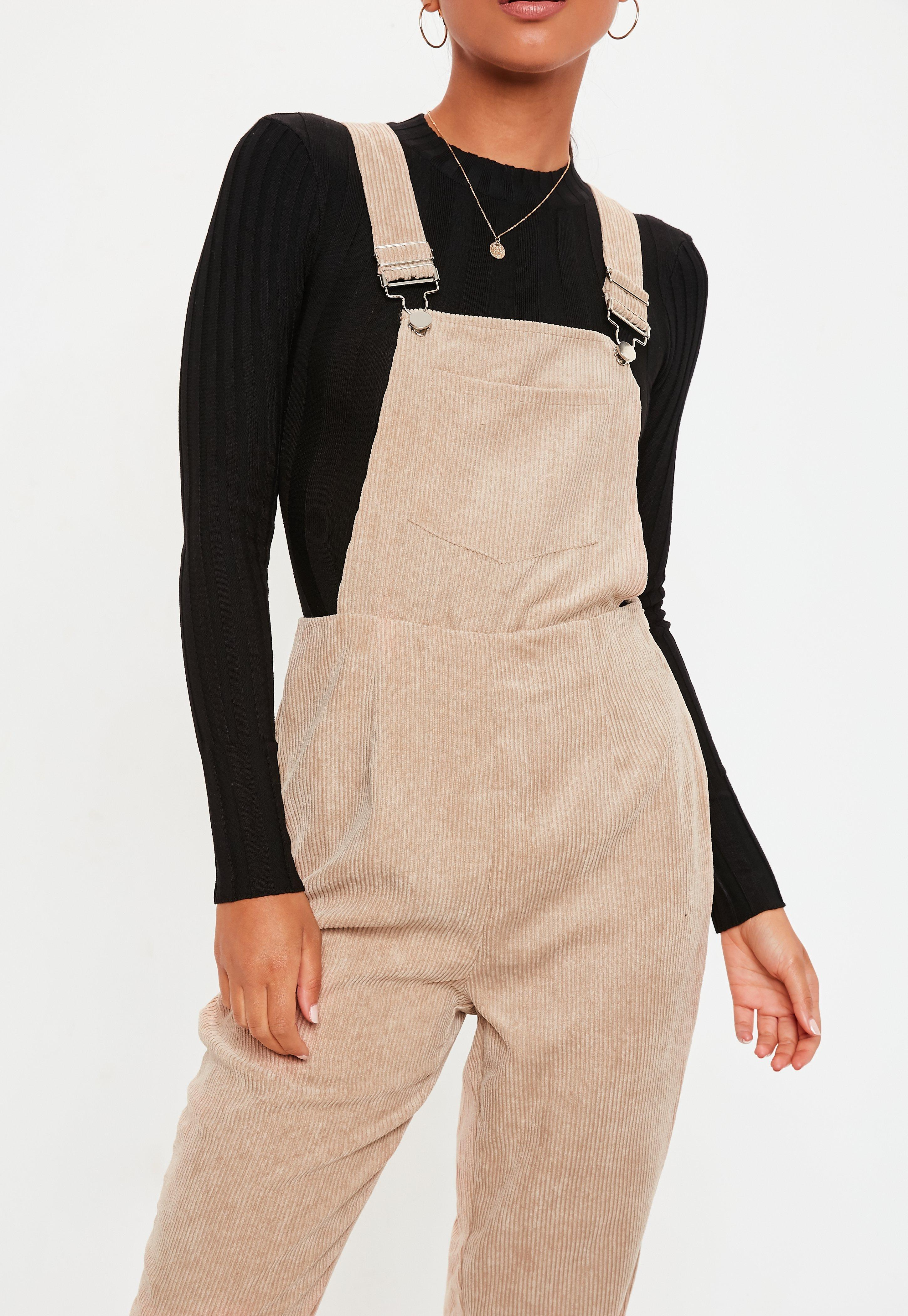 8541a775fc2 Lyst - Missguided Stone Cord Dungaree Jumpsuit in Natural