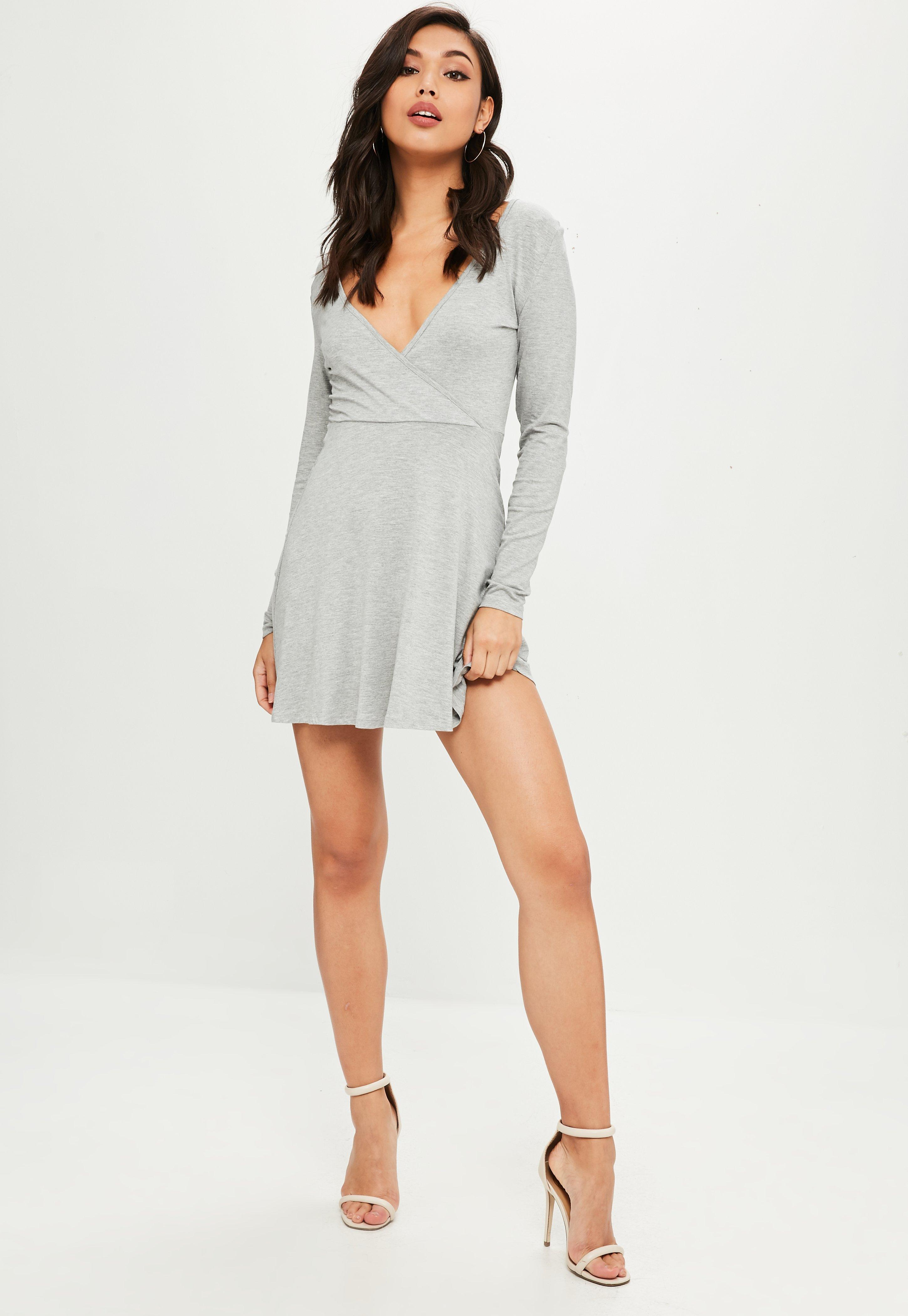 680abe2a4f50 Lyst - Missguided Grey Long Sleeve Jersey Wrap Skater Dress in Gray