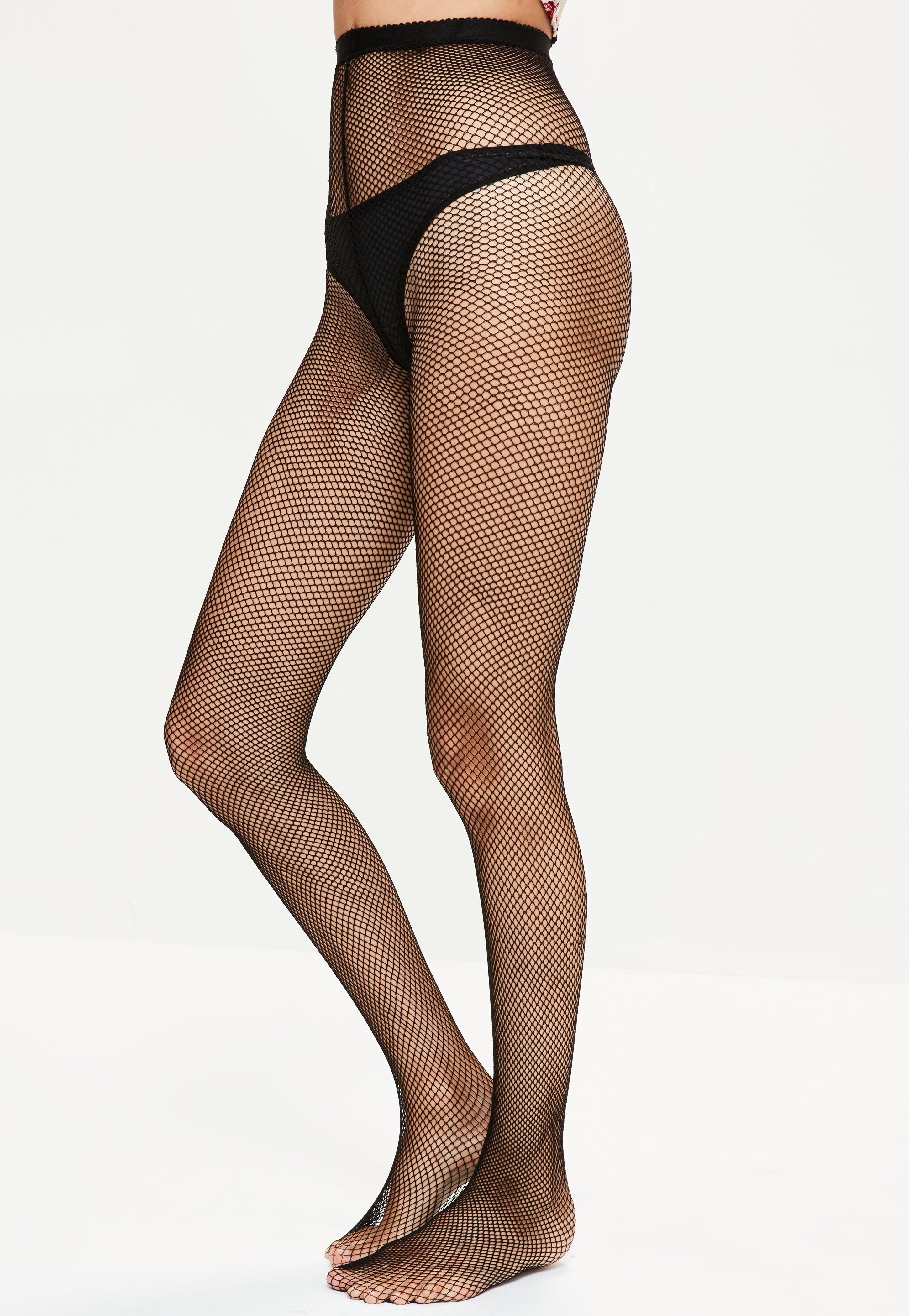 Missguided Black Elasticated Fishnet Tights in Black | Lyst