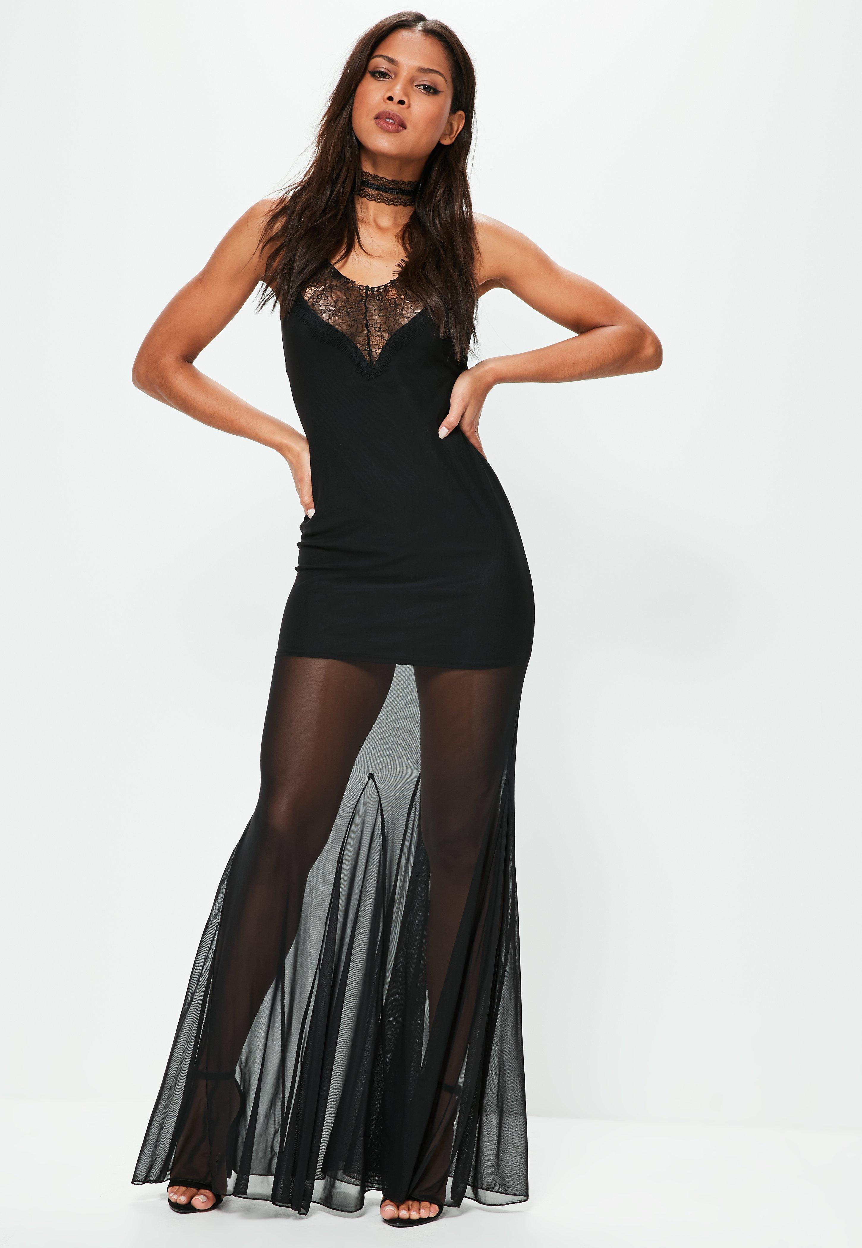 Missguided velvet racer high neck midi dress black in black lyst - Missguided Women S Black Strappy Mesh Lace Maxi Dress