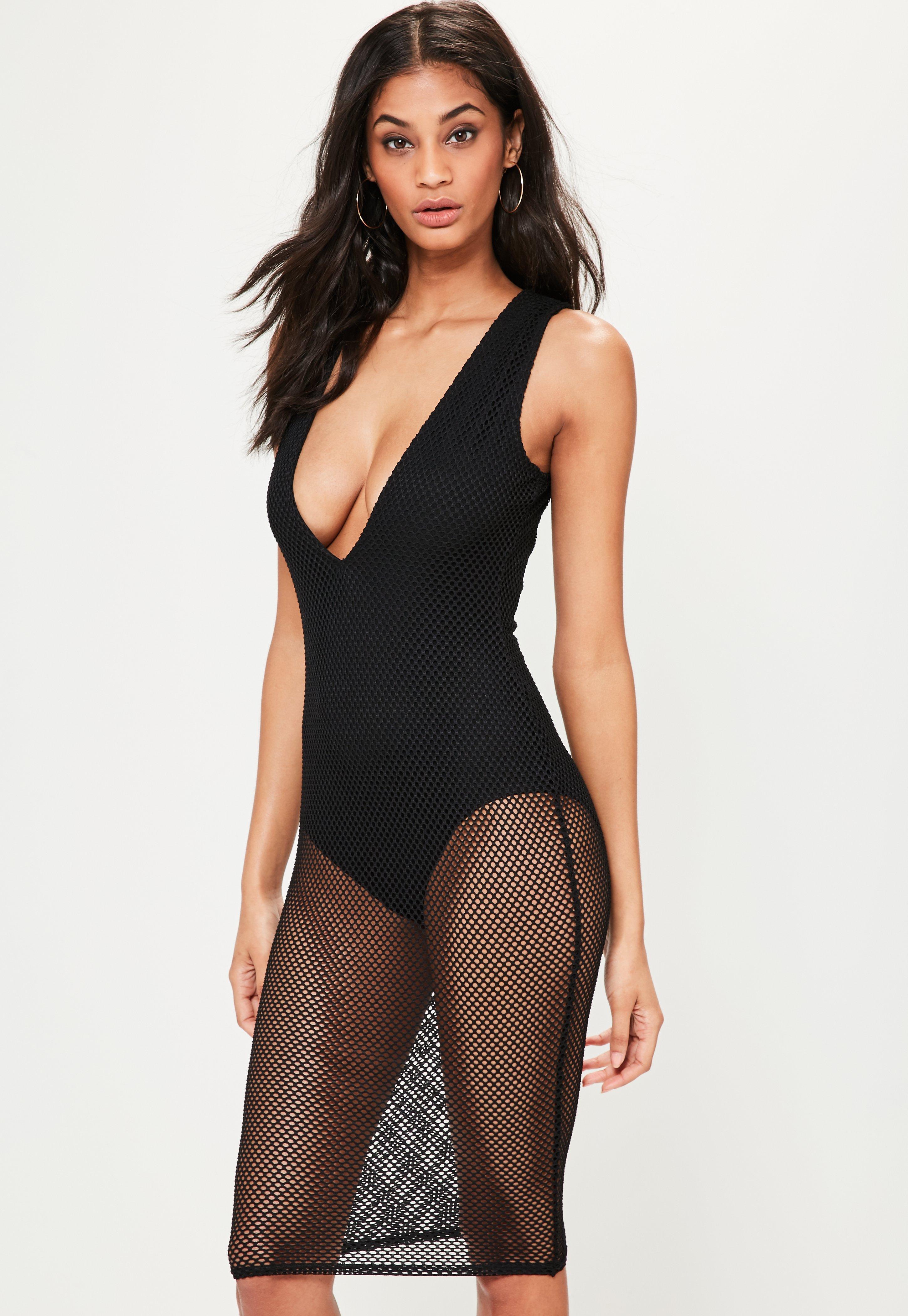 Missguided velvet racer high neck midi dress black in black lyst - Missguided Women S Black Fishnet Plunge Sleeveless Midi Dress