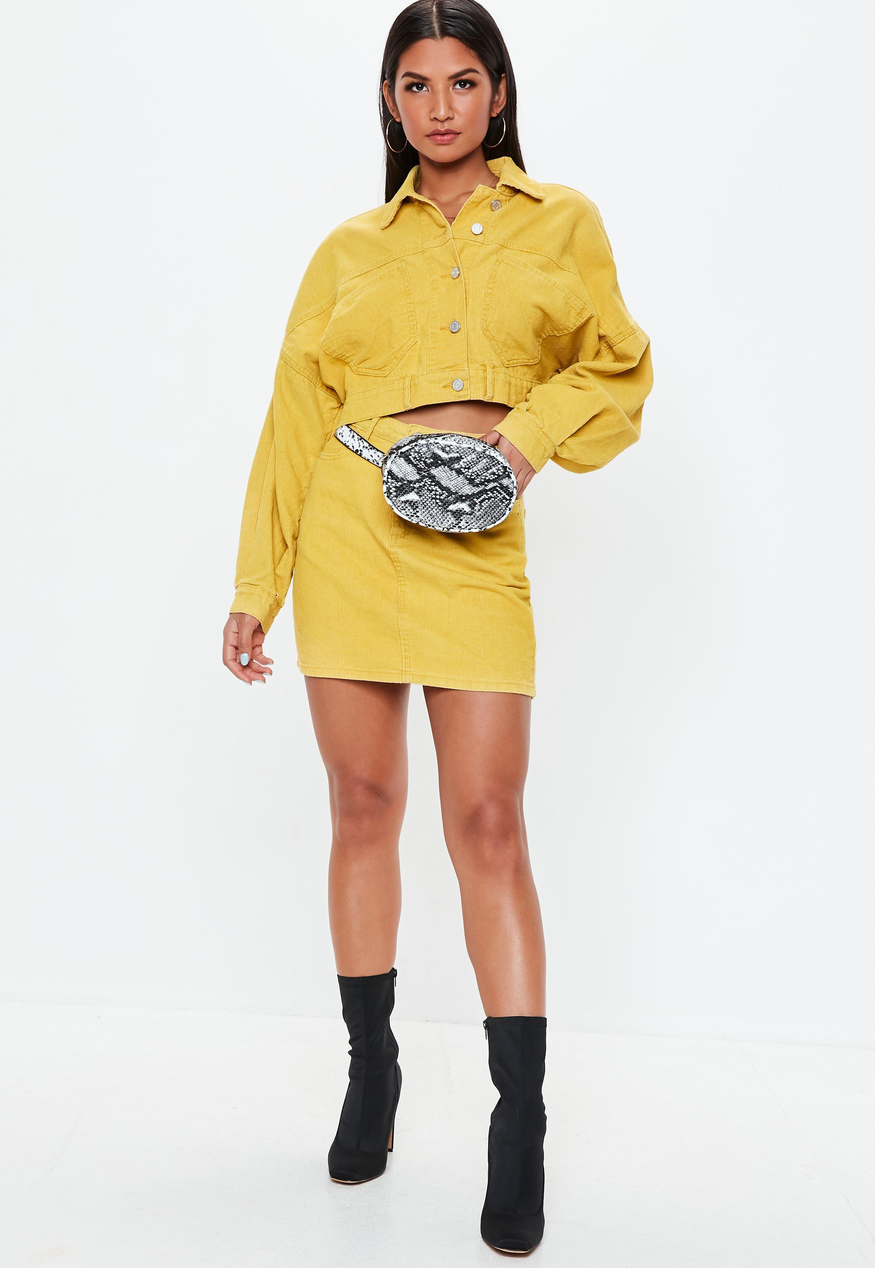 2307a2a36592ff Missguided - Yellow Petite Mustard A Line Cord Mini Skirt - Lyst. View  fullscreen