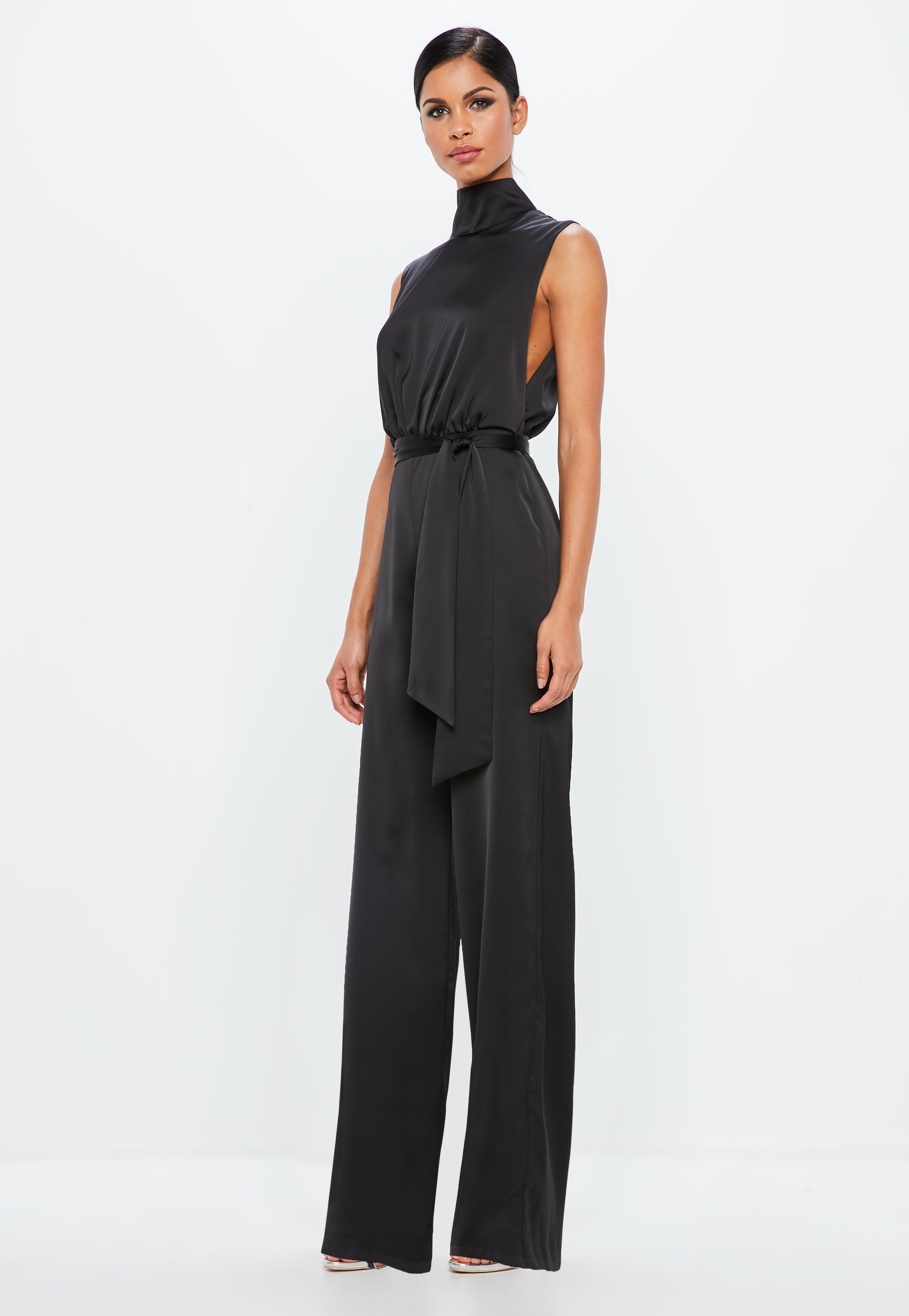 c0d7086a46fe11 Lyst - Missguided Peace + Love Black Satin High Neck Belted Jumpsuit ...