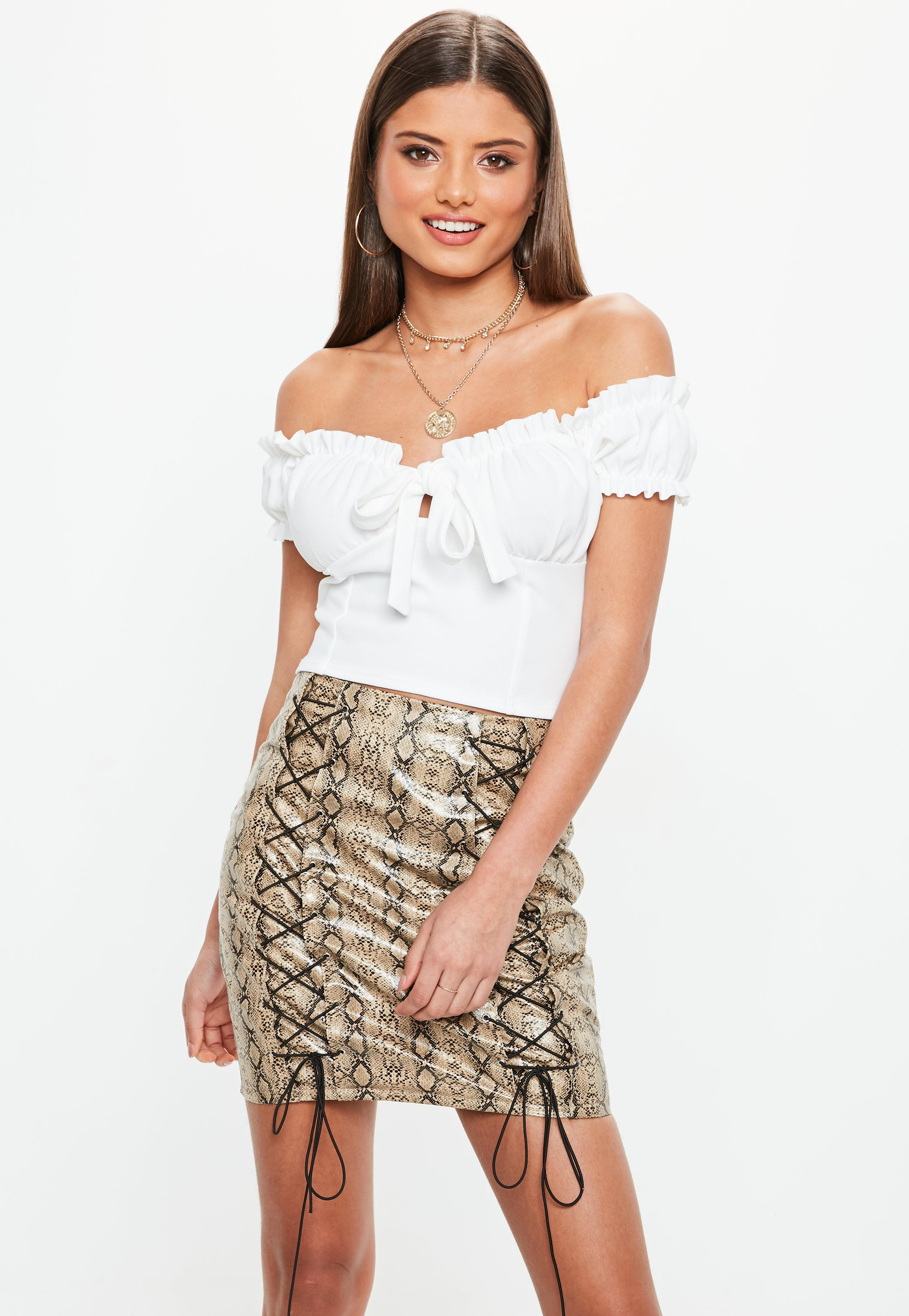8734542579ba0 Missguided White Tie Front Frill Bardot Crop Top in White - Lyst