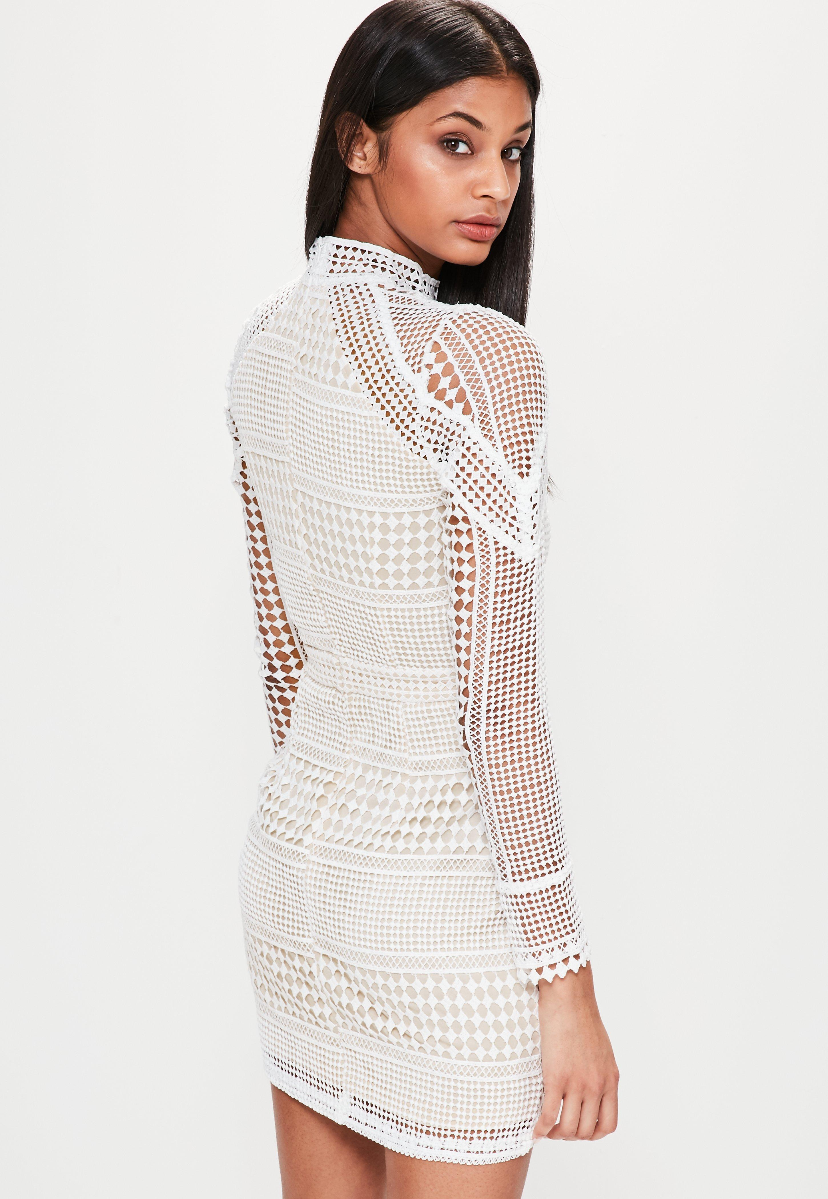 fcd30d014940 Lyst - Missguided Premium Structured High Neck Lace Mini Dress White ...