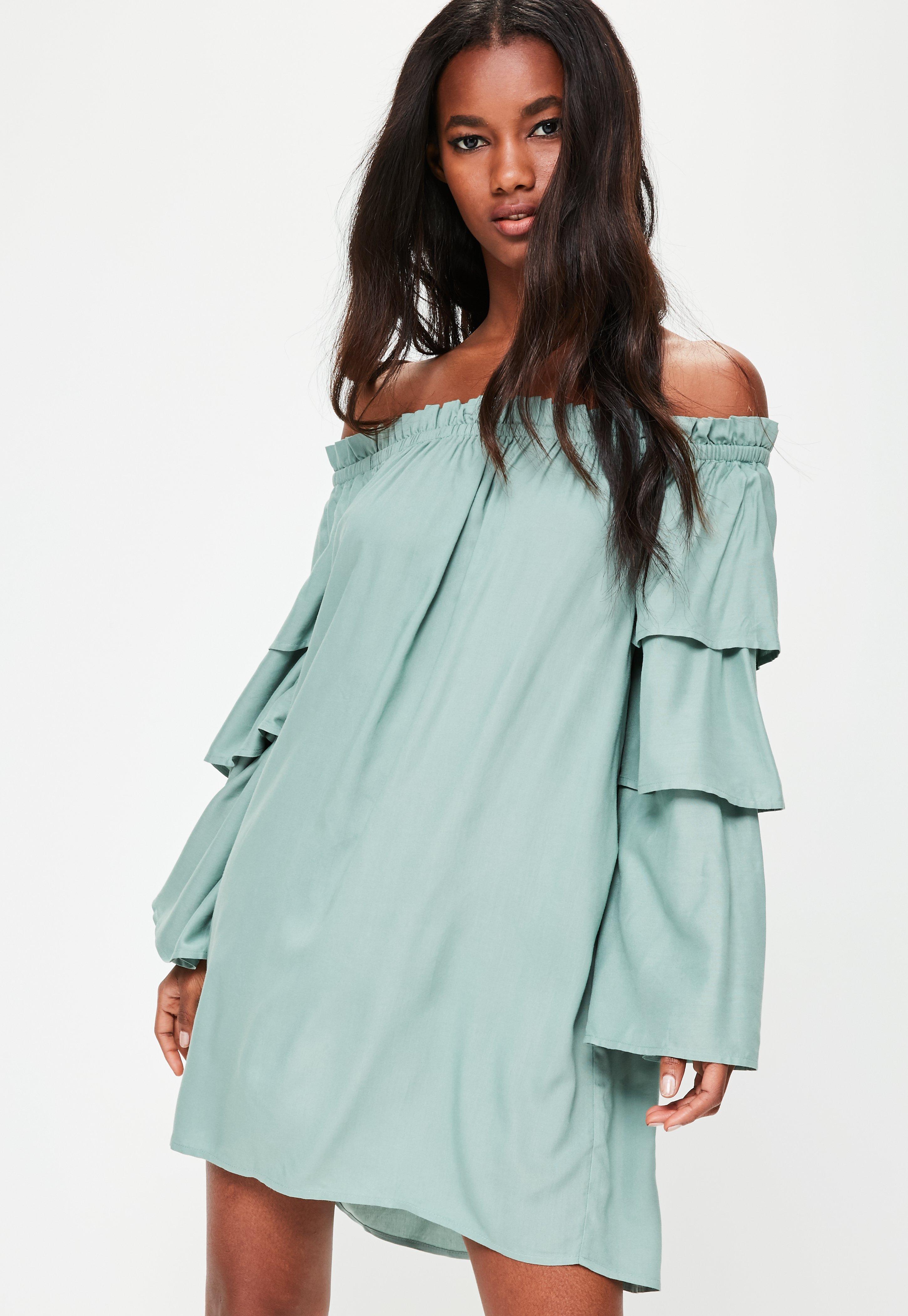 7817fbc65008 Lyst - Missguided Green Layered Sleeve Bardot Shift Dress in Green