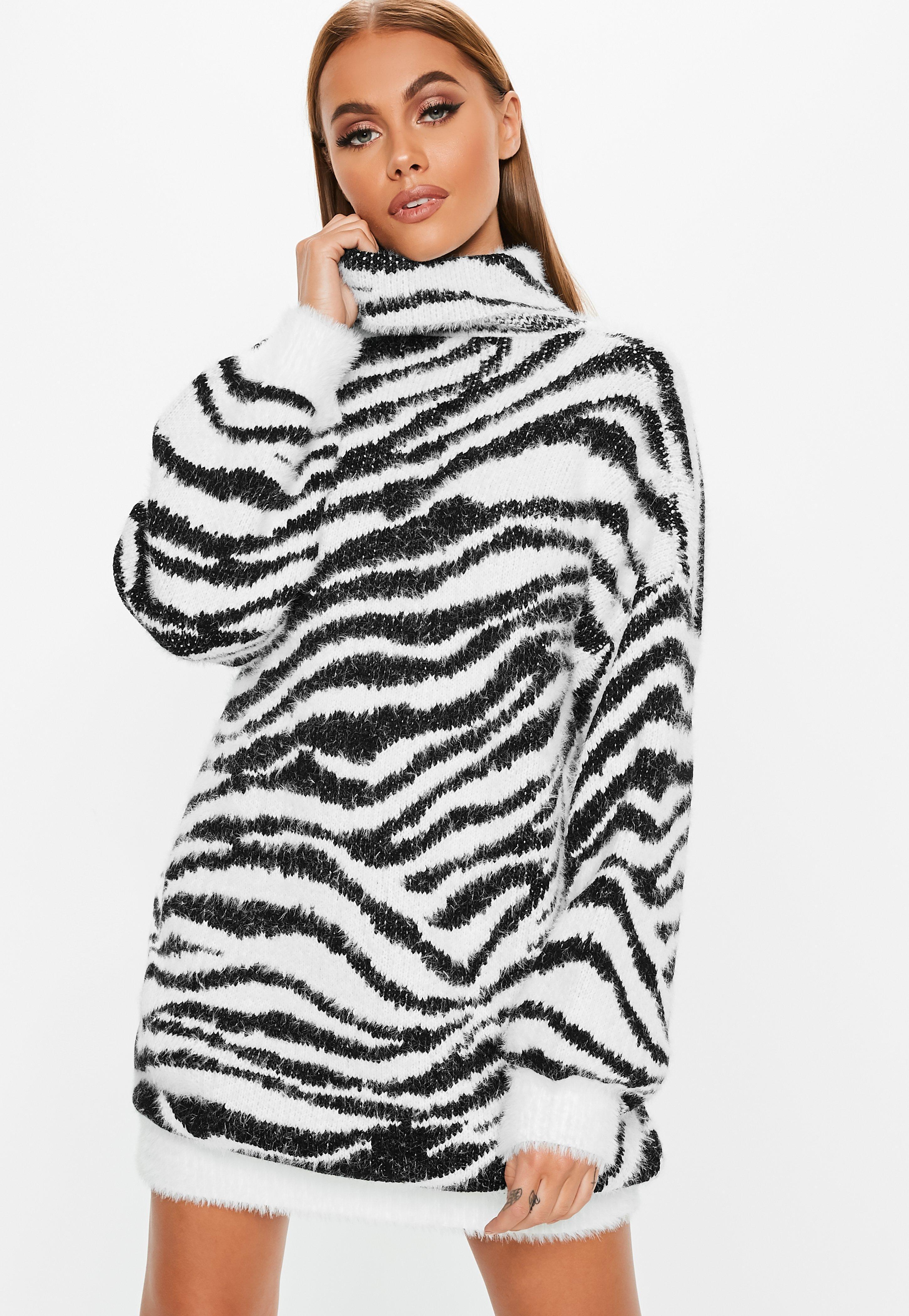 04a838e46da Lyst - Missguided Jumper Dress With Roll Neck In Zebra in White ...