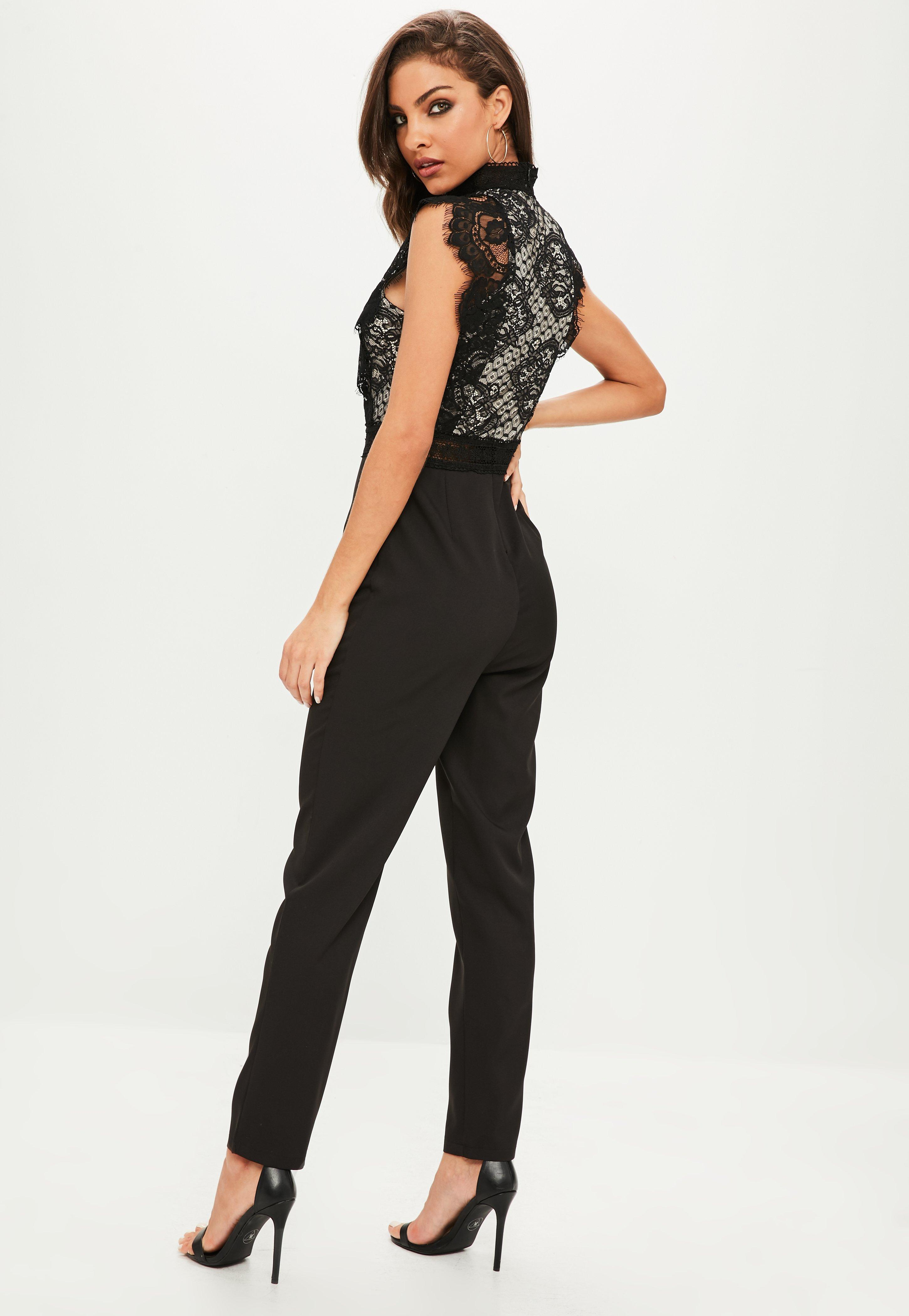41496d2e74f5 Lyst - Missguided Black Eyelash Lace High Neck Jumpsuit in Black