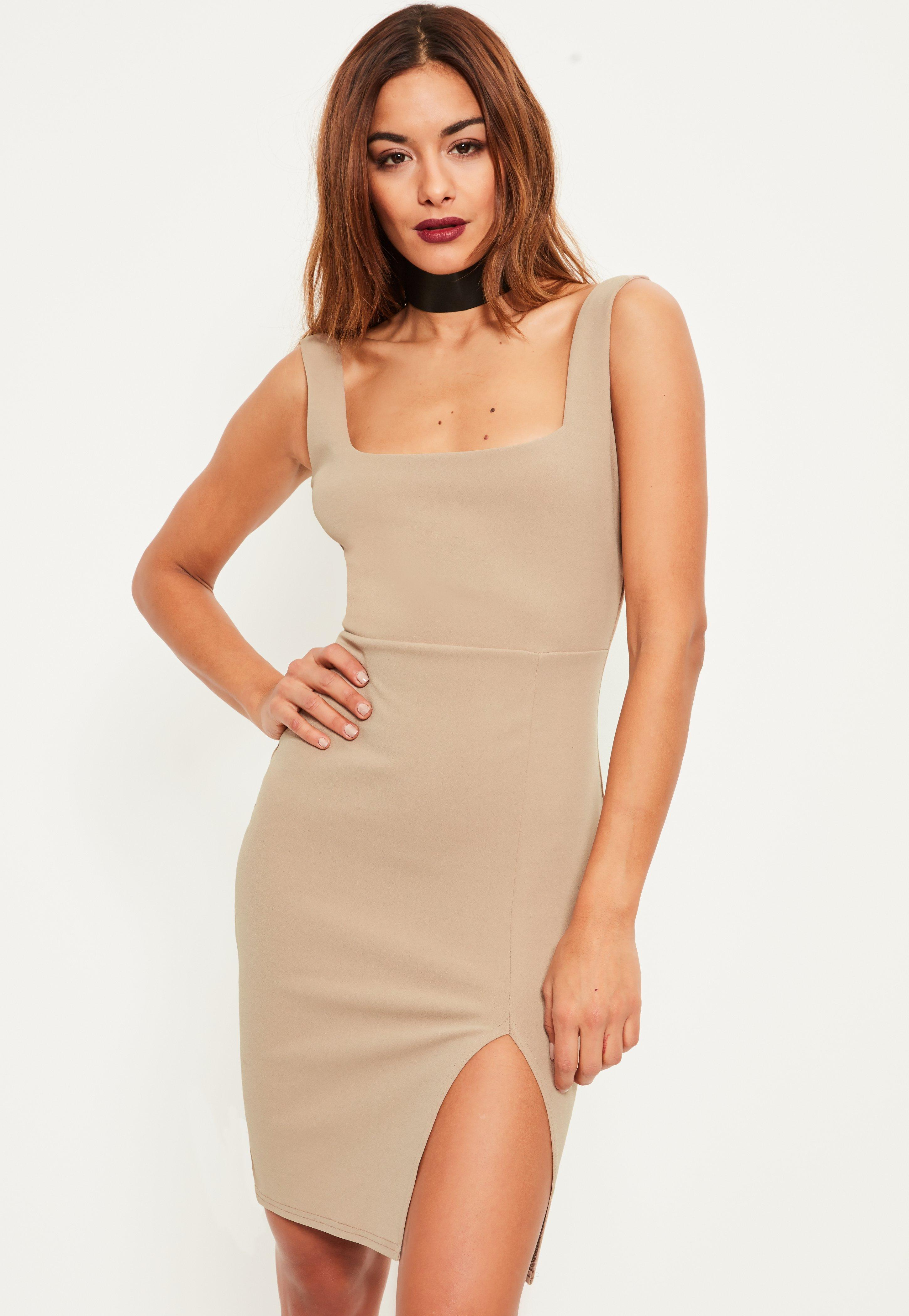 96b2ddecb98c2 Missguided Nude Square Neck Side Split Mini Dress in Natural - Lyst