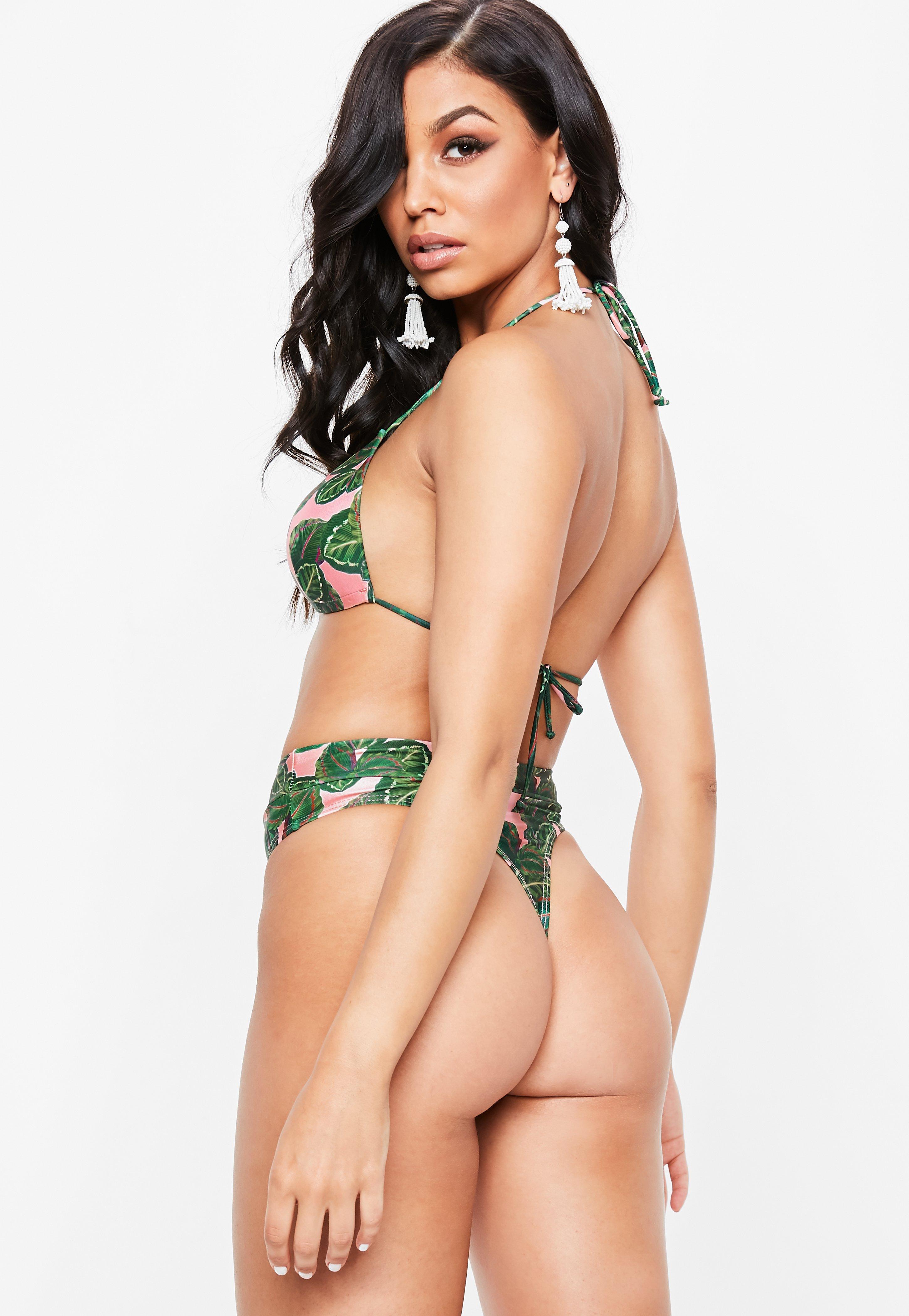 f02c4a6406d67 Lyst - Missguided Pink Tropical Thong Bikini Bottoms - Mix   Match ...