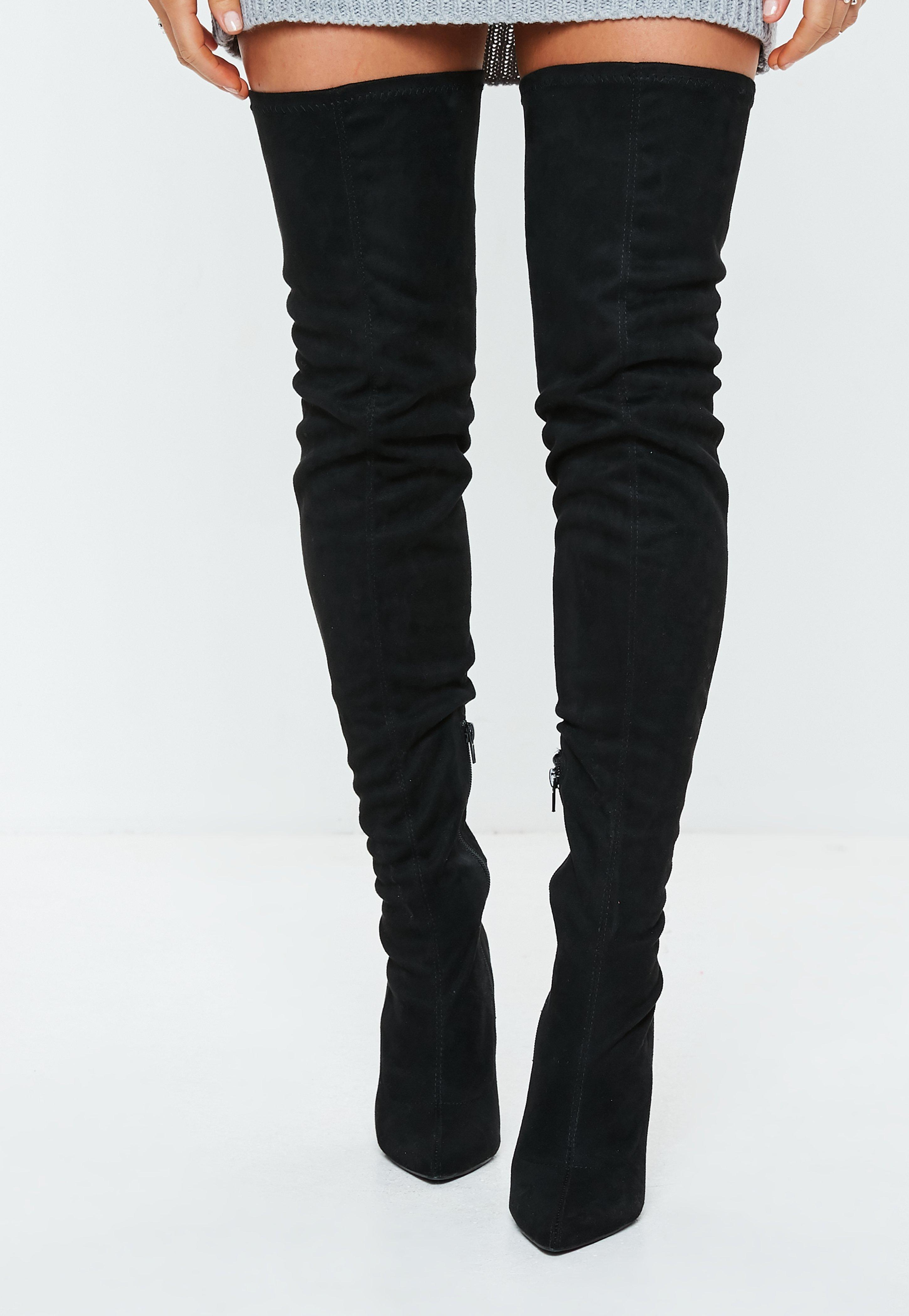 5bc77fa16588 Missguided - Black Over The Knee Flared Heel Boots - Lyst. View fullscreen