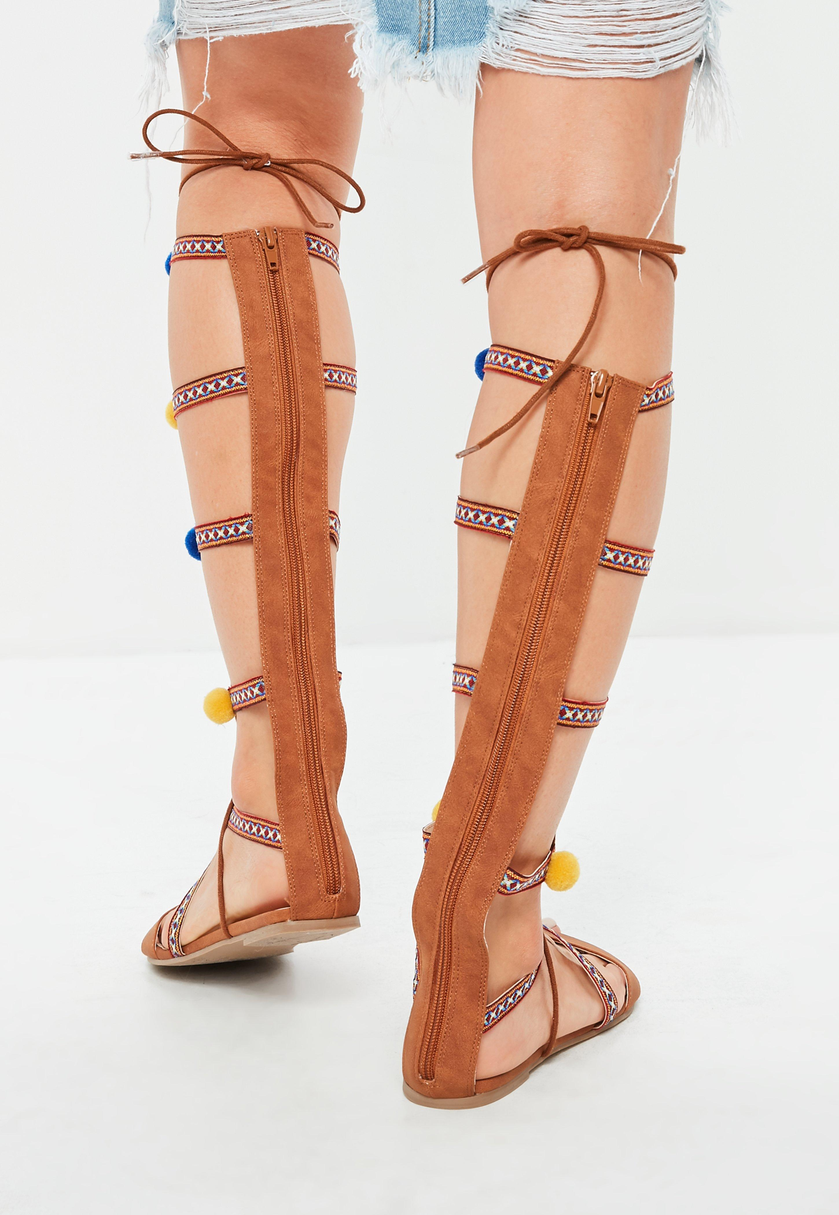 1e76a25e81a Missguided - Brown Pom Pom Embroidered Gladiator Sandals - Lyst. View  fullscreen