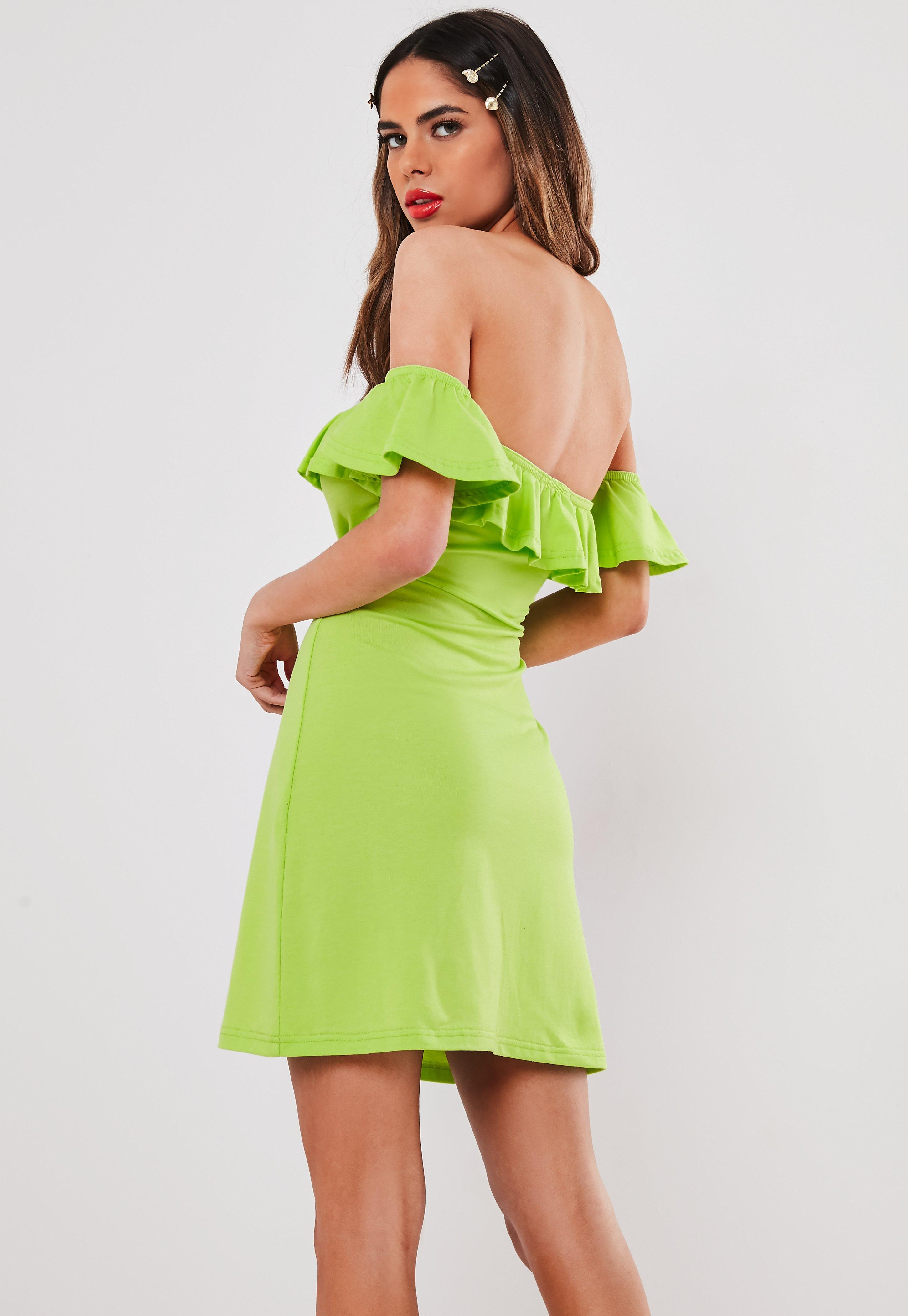 521401c3a4a0 Missguided Neon Lime Bardot Frill Skater Dress in Green - Lyst