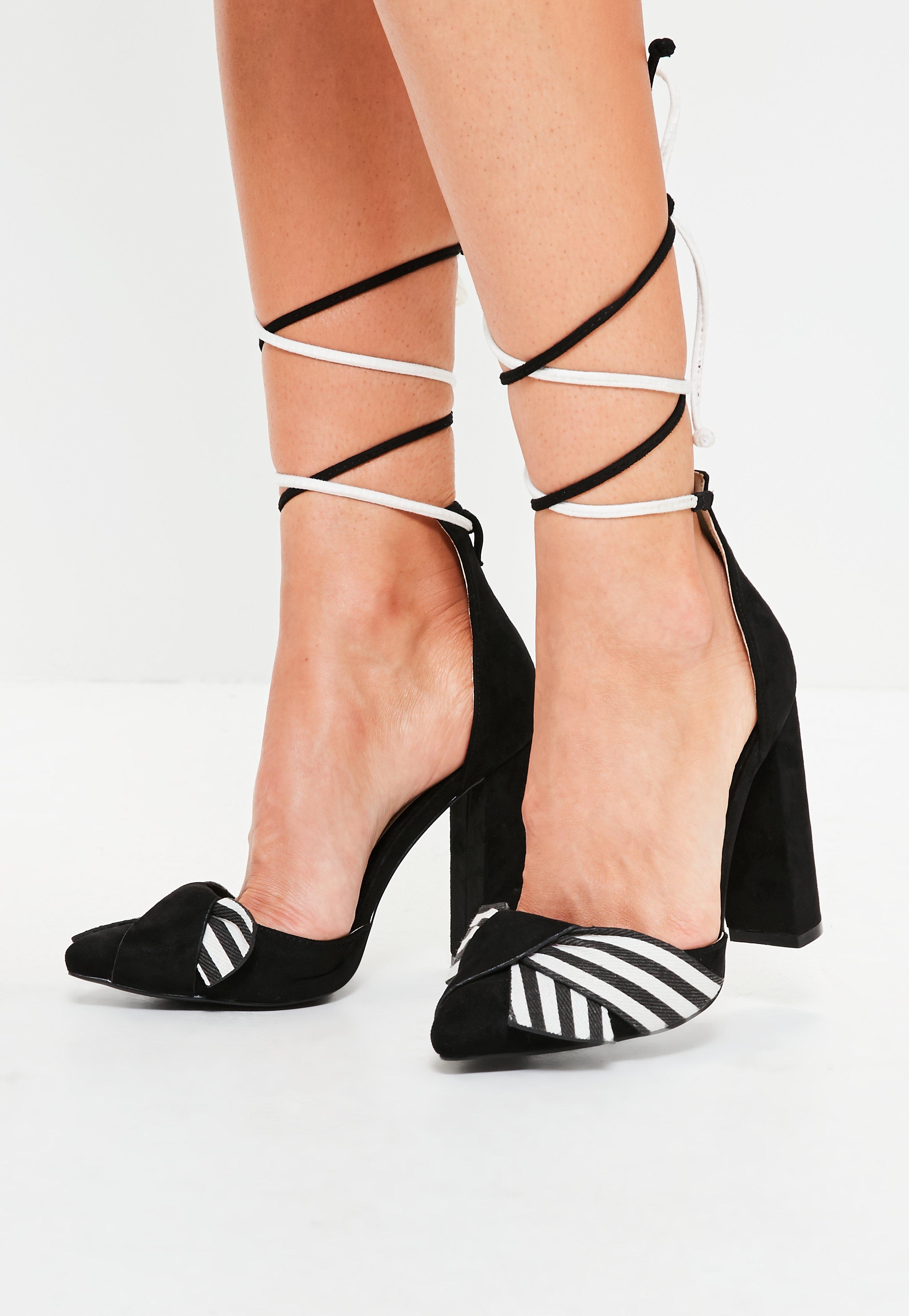 09814548d53 Lyst - Missguided Black Striped Wrap Around Block Heel Sandals in Black