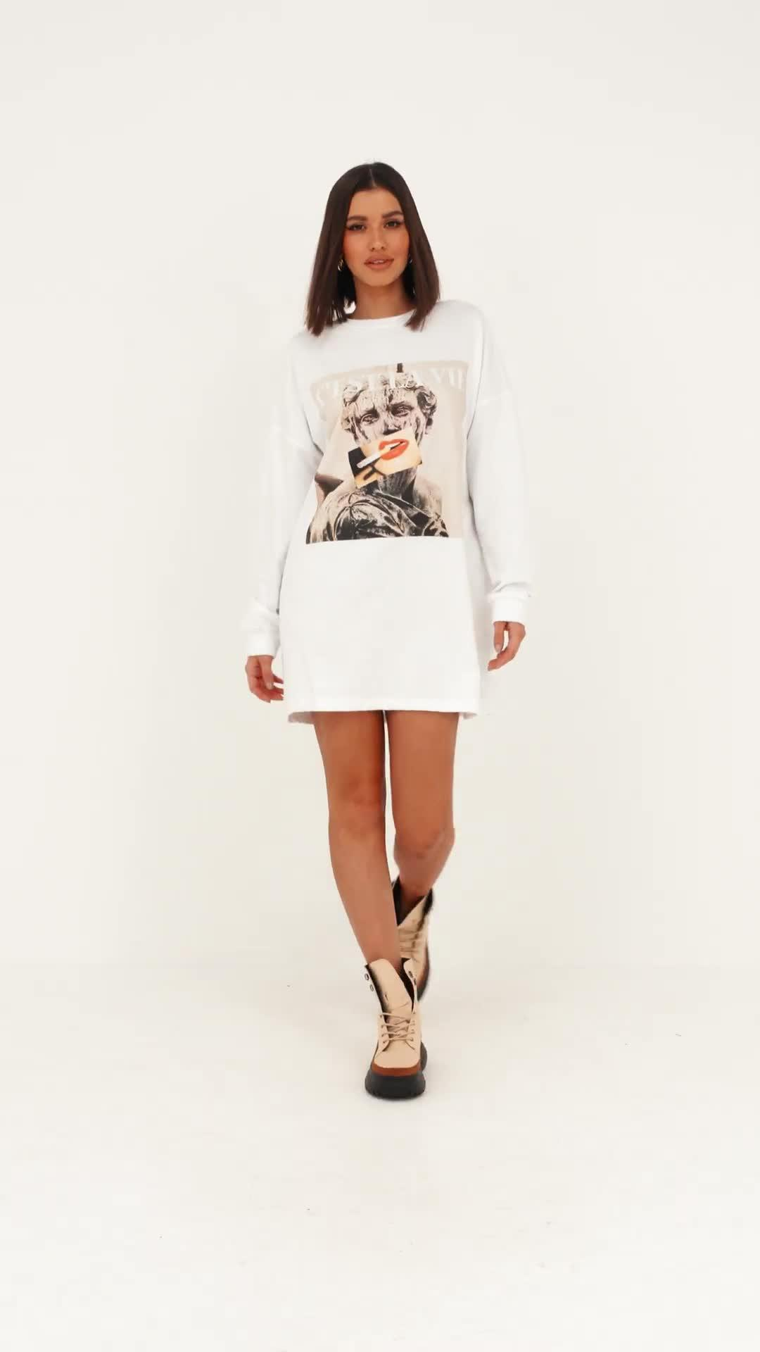 9707c3ee40d Missguided - White Graphic Print Oversized Sweater Dress - Lyst. View  fullscreen