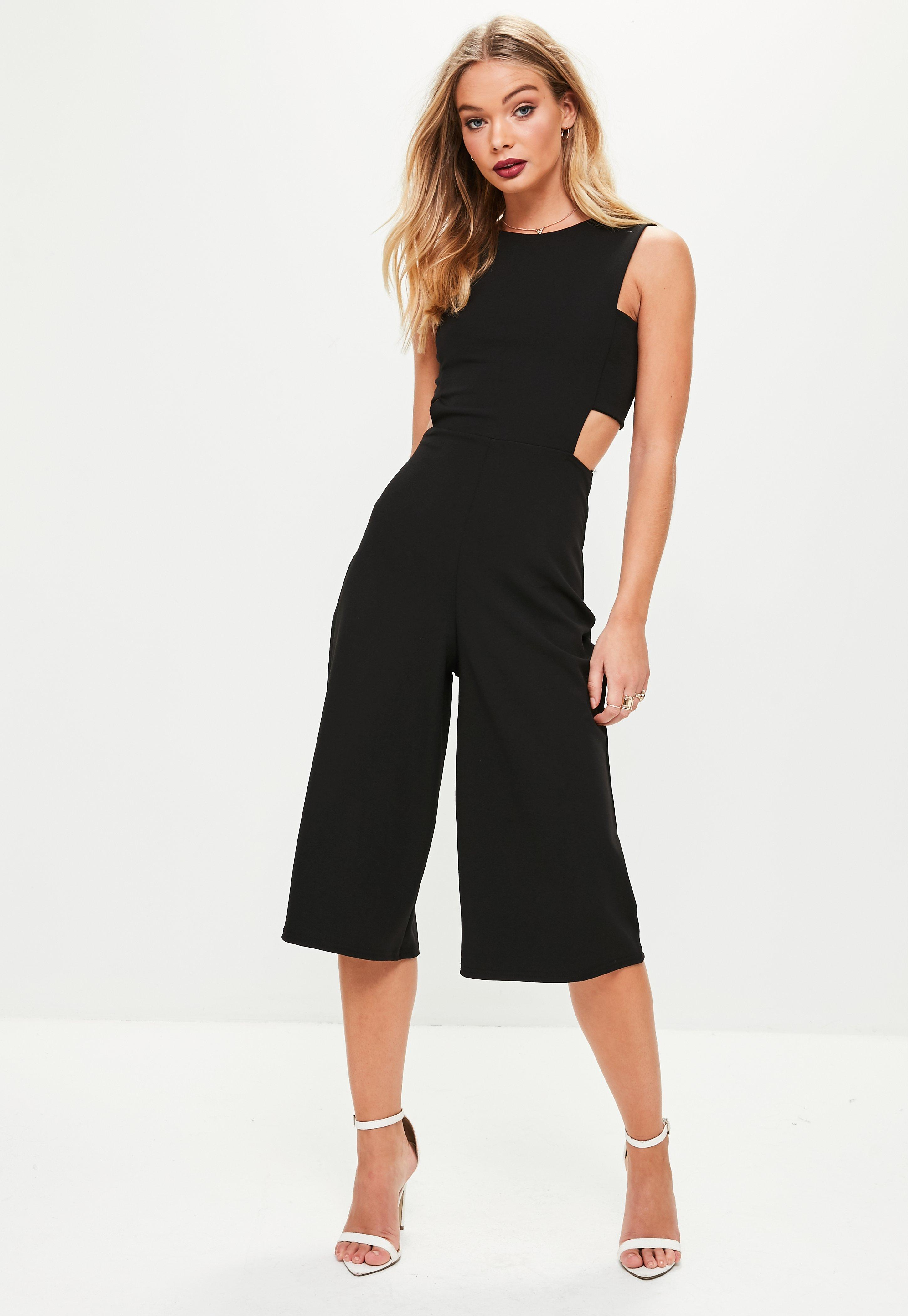 530f05331f6c Lyst - Missguided Black Tab Side Culotte Jumpsuit in Black - Save 2%