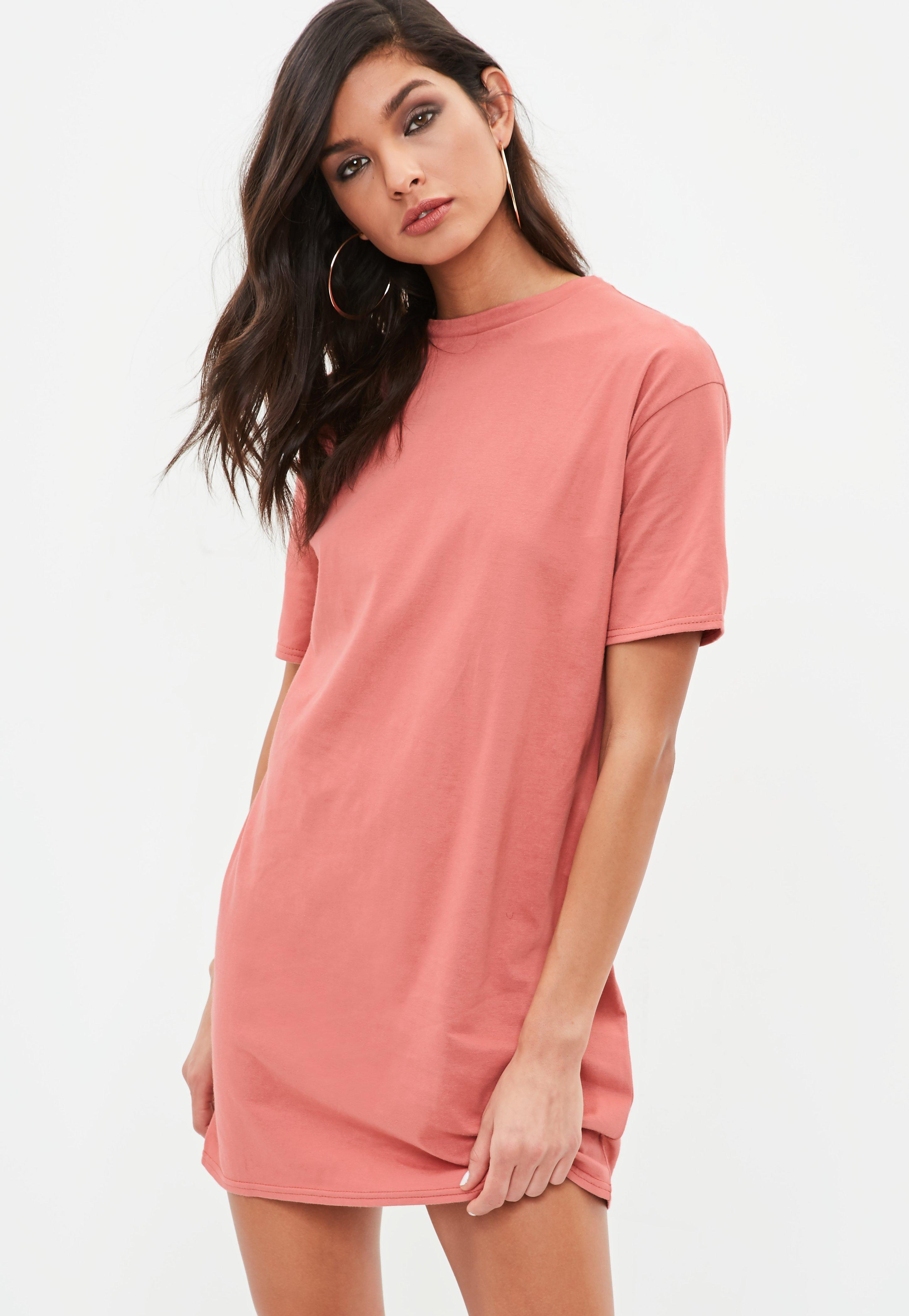 Missguided Pink Short Sleeve Crew Neck T-shirt Dress in ...