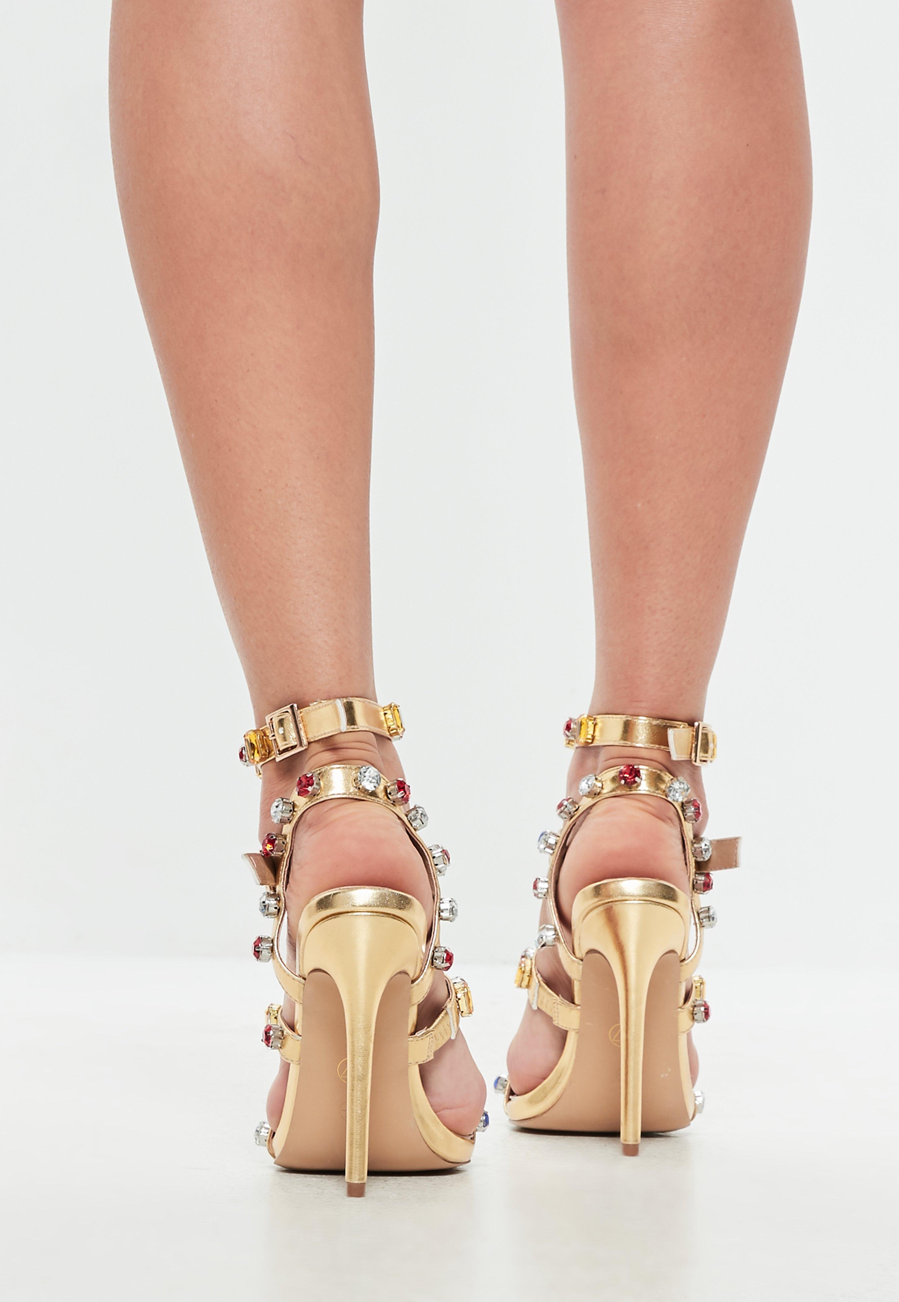 1c45b7d0b2dc9a Missguided - Metallic Gold Multi Jeweled Heeled Sandals - Lyst. View  fullscreen
