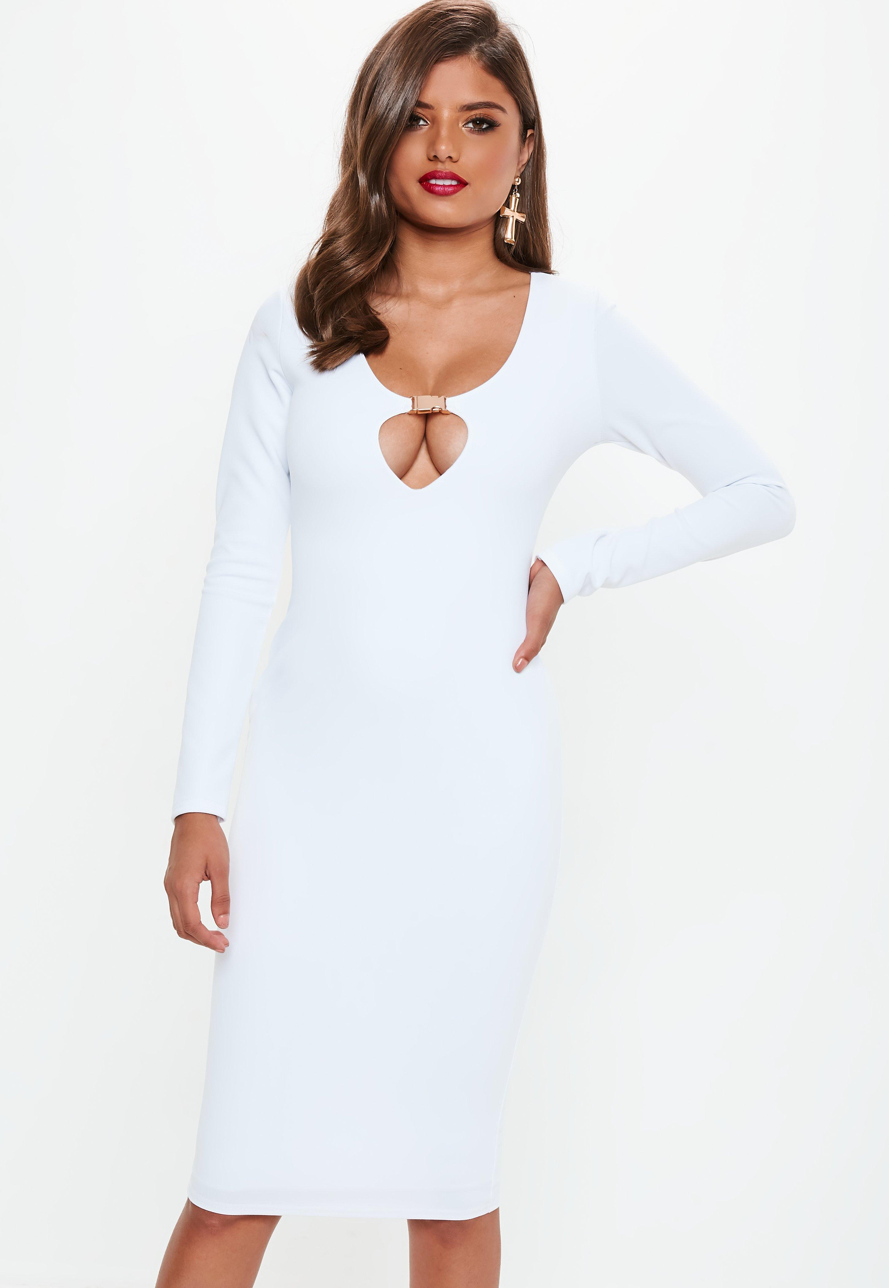 96b4033809af4 Lyst - Missguided White Long Sleeve Buckle Midi Dress in White