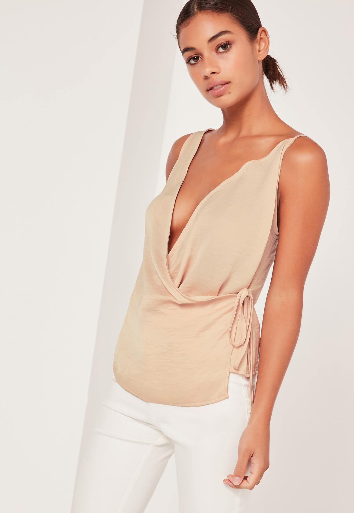 Nude Lace Trim Wrap Cami Top | Missguided