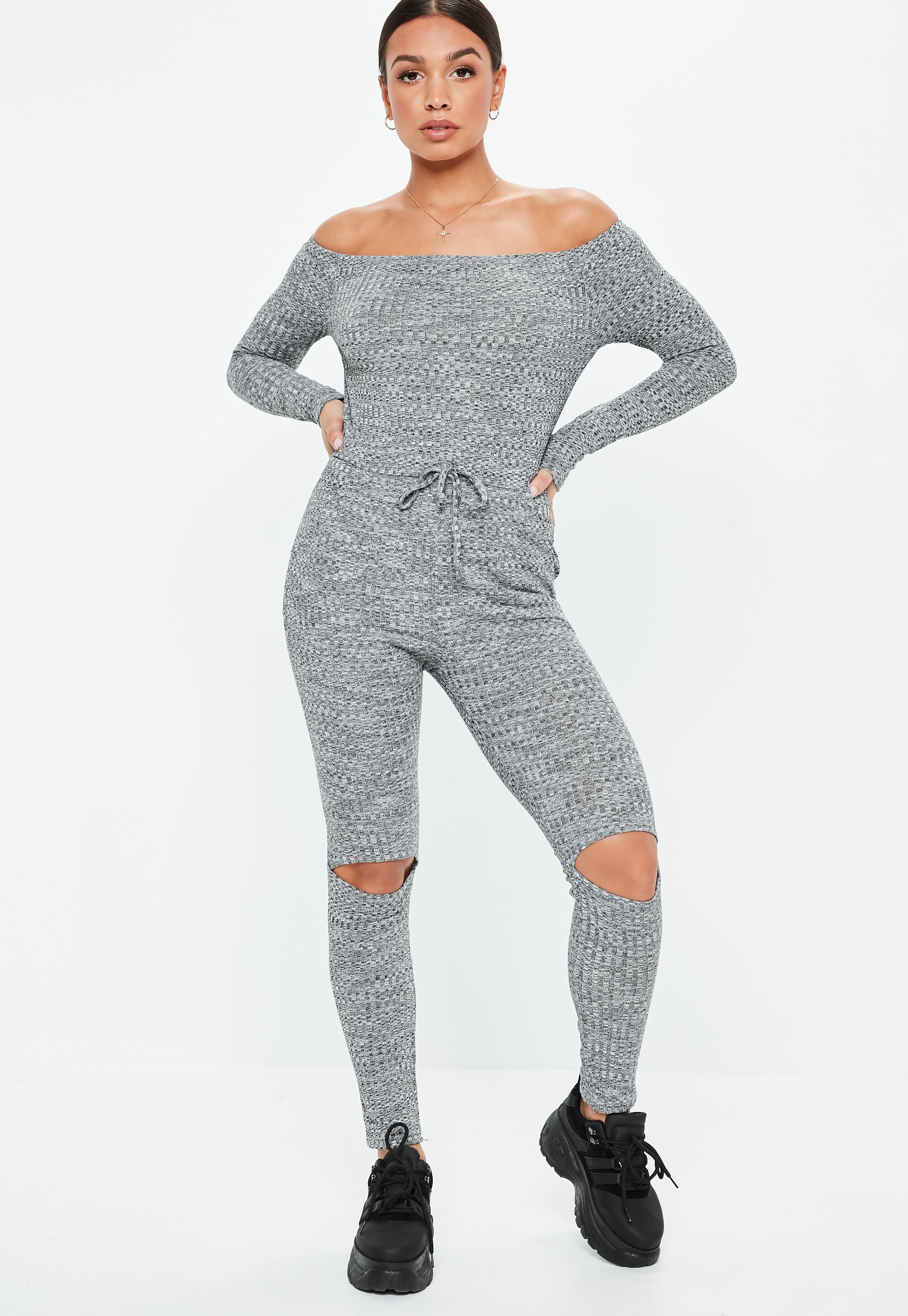 5684ea918f6 Lyst - Missguided Grey Rib Bardot Long Sleeve Jumpsuit in Gray