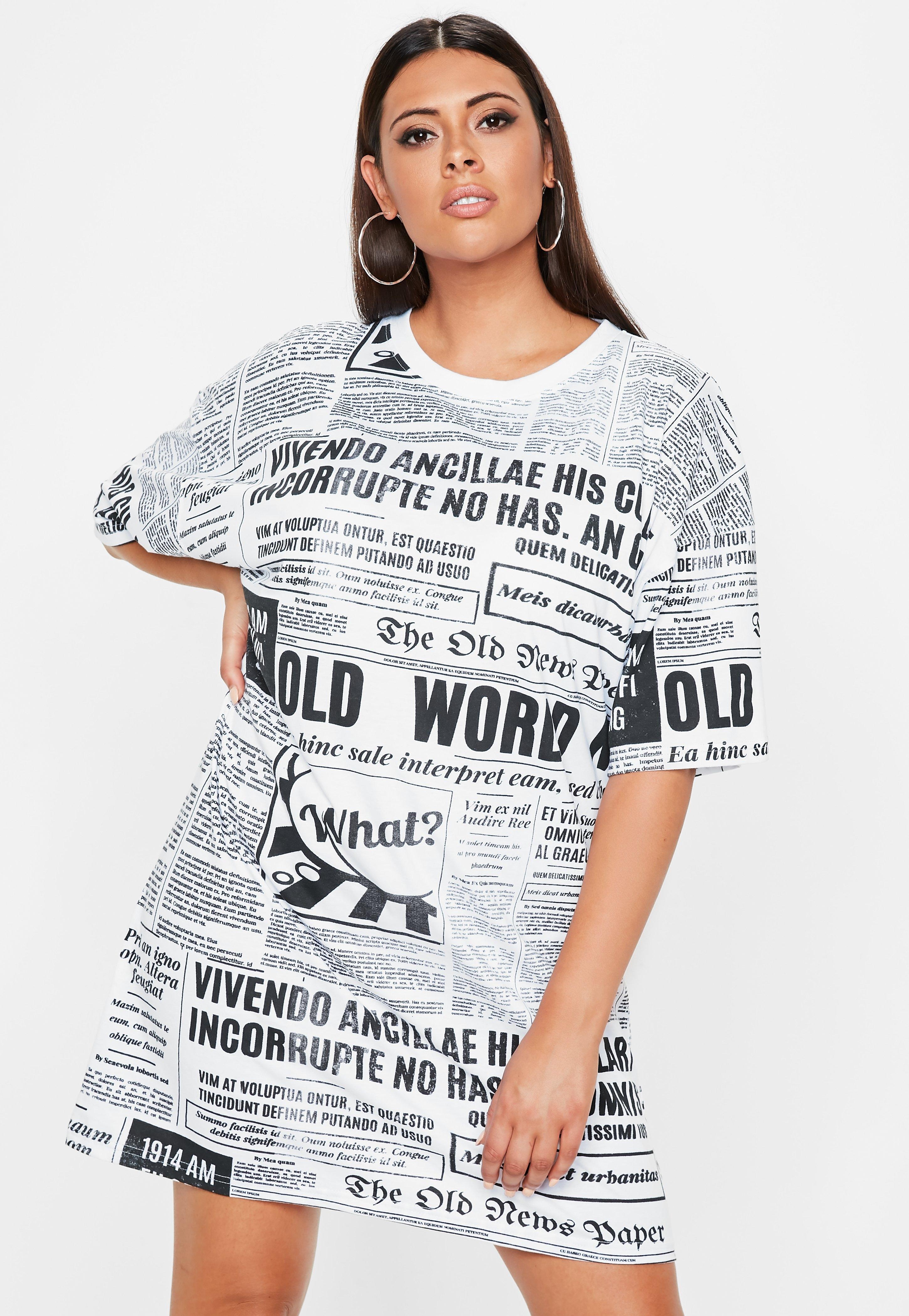 f939299fdc475 Lyst - Missguided Plus Size White Newspaper Printed Oversized T ...