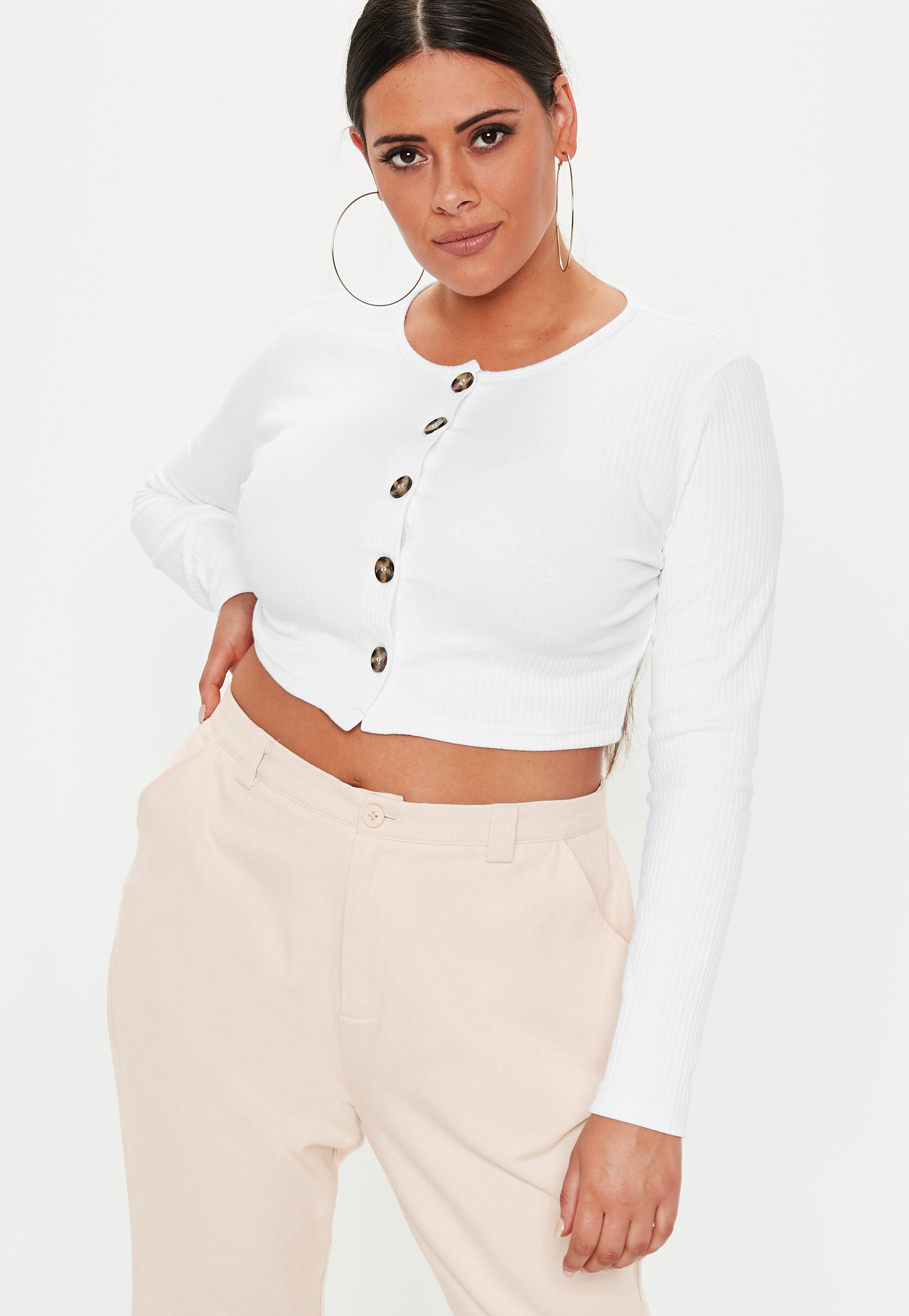 12c5830ab71d8 Missguided. Women s Plus Size White Ribbed Button Front Long Sleeve Crop Top