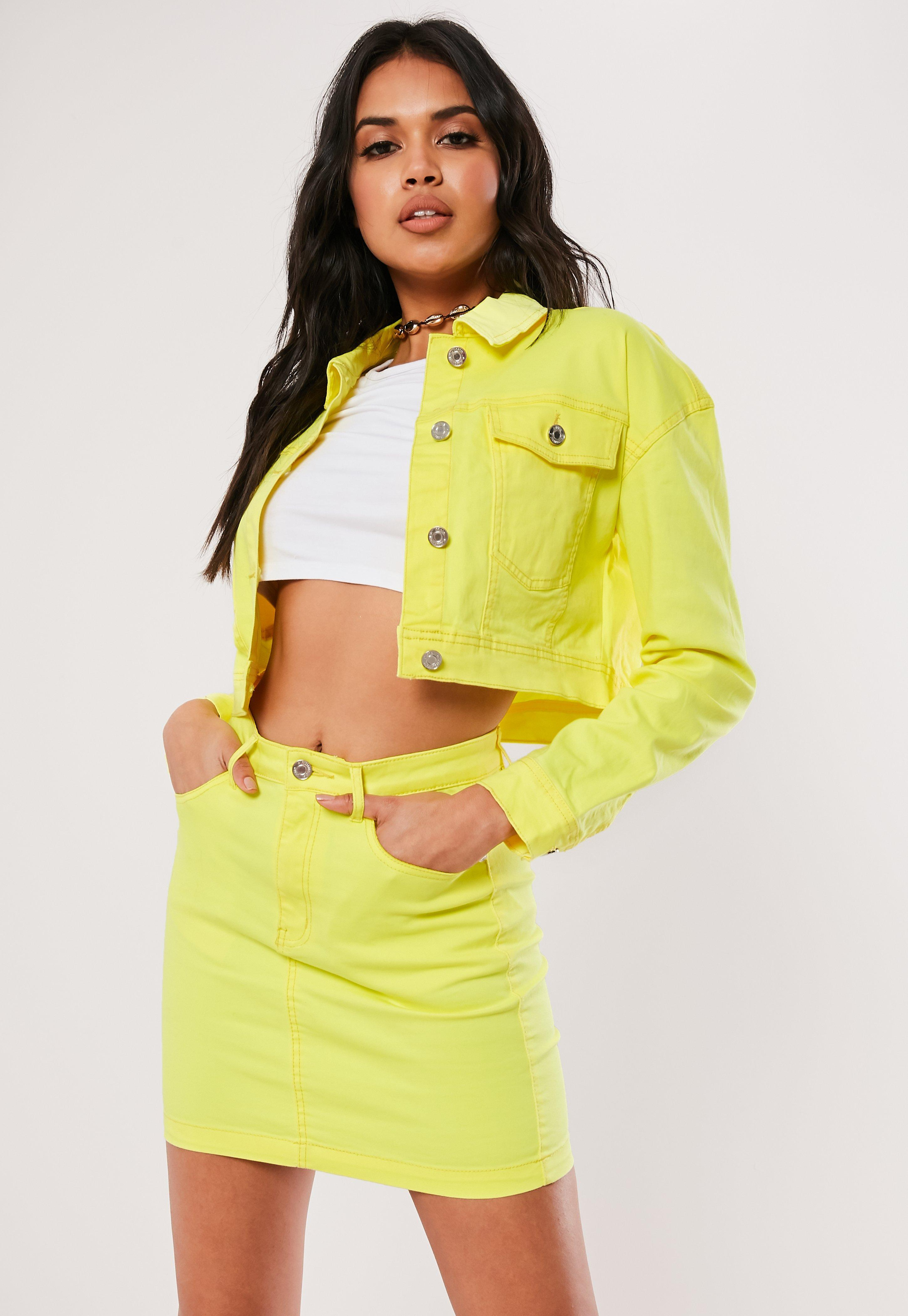 b7a924f597 Missguided - Neon Yellow Co Ord Superstretch Denim Skirt - Lyst. View  fullscreen