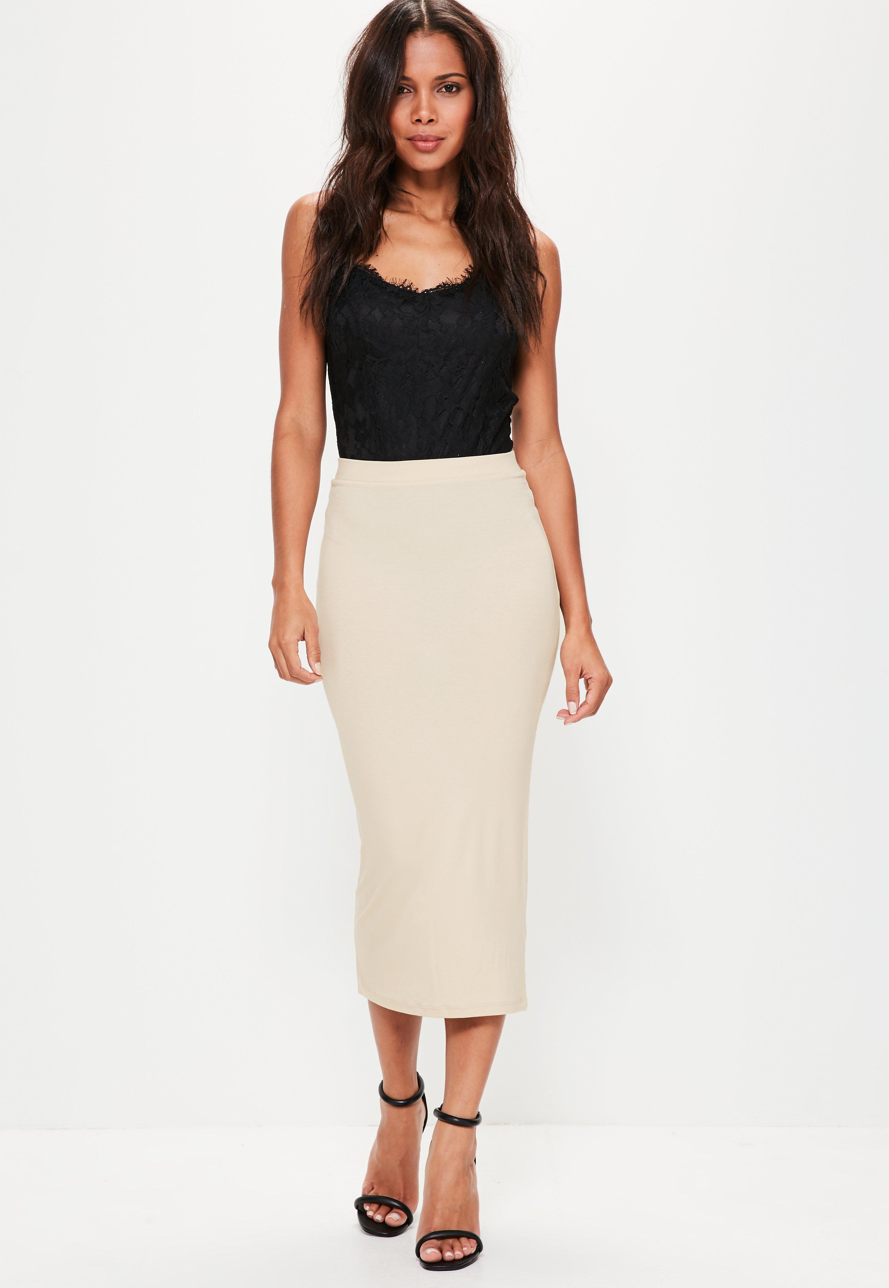 8a8b6dda8 Missguided Nude Jersey Longline Midi Skirt in Natural - Lyst