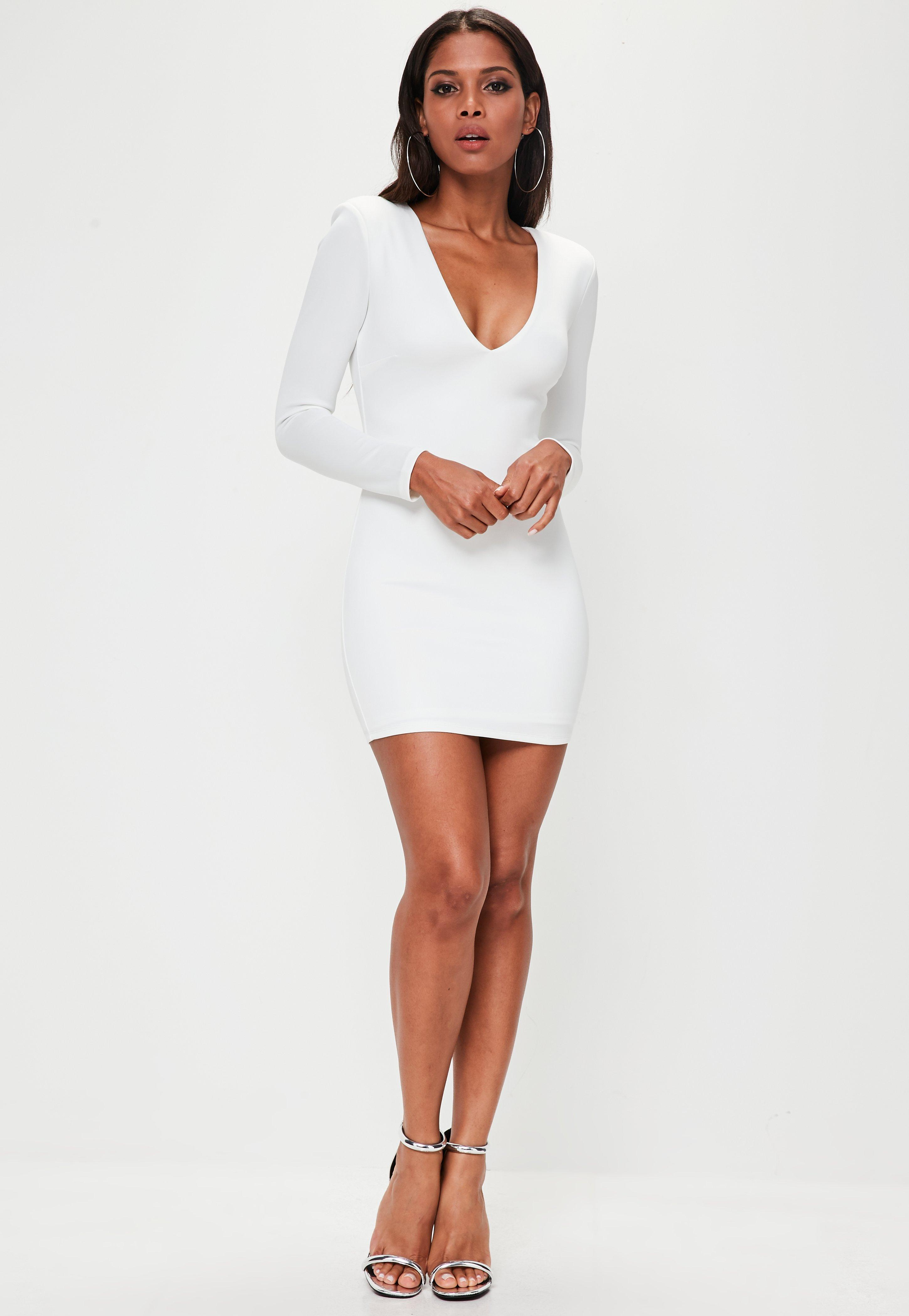 b47d783795d38 Lyst - Missguided White Extreme Shoulder Plunge Mini Dress in White
