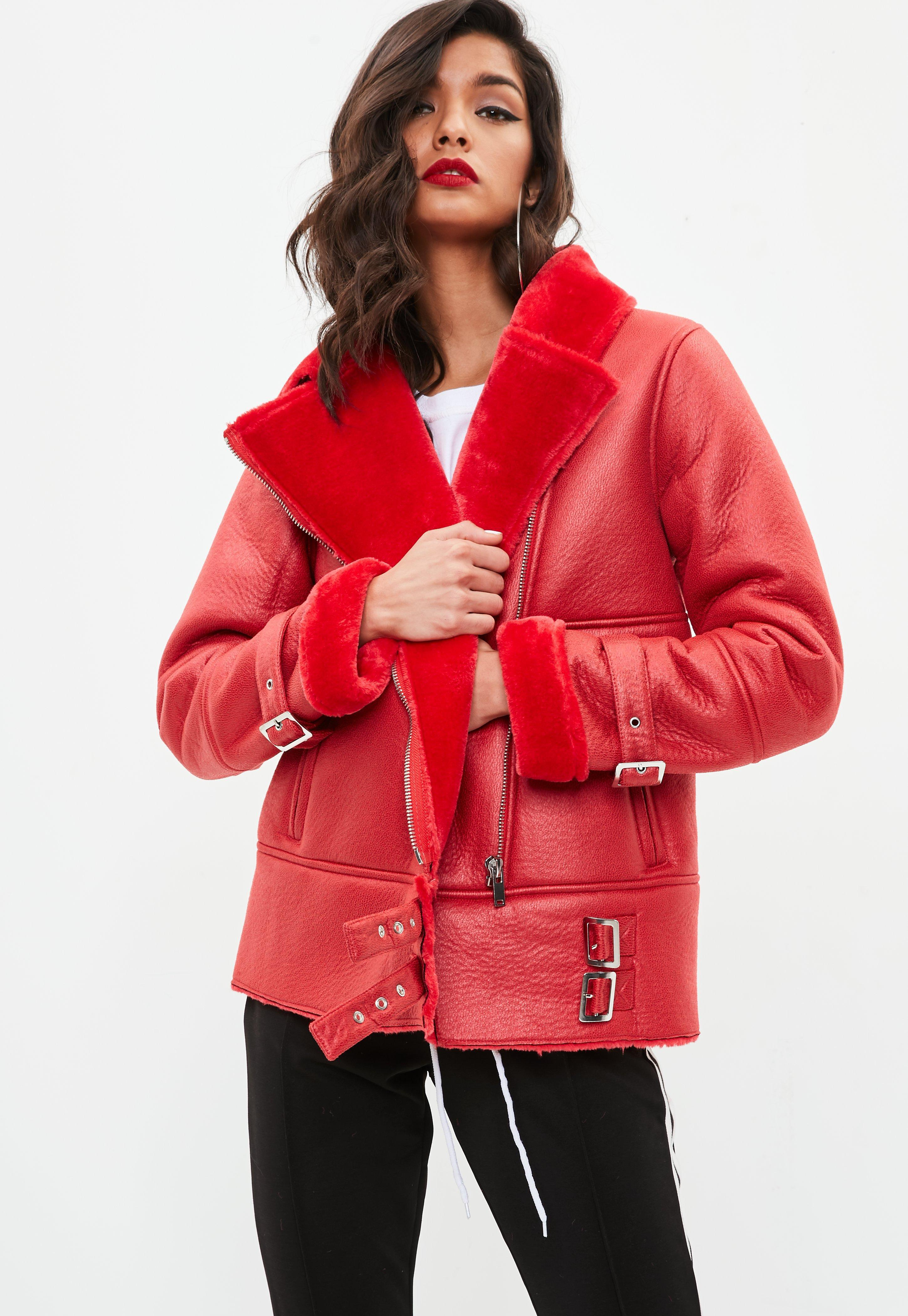 Missguided Red Buckle Detail Faux Fur Aviator Jacket in ...